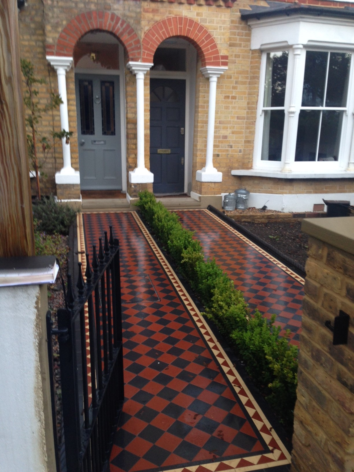 Brixton Herne Hill Victorian Mosaic Tile Path black and red tile with Yorkstone pier cap entrance stone and imperial yellow brick london stock wall (5)
