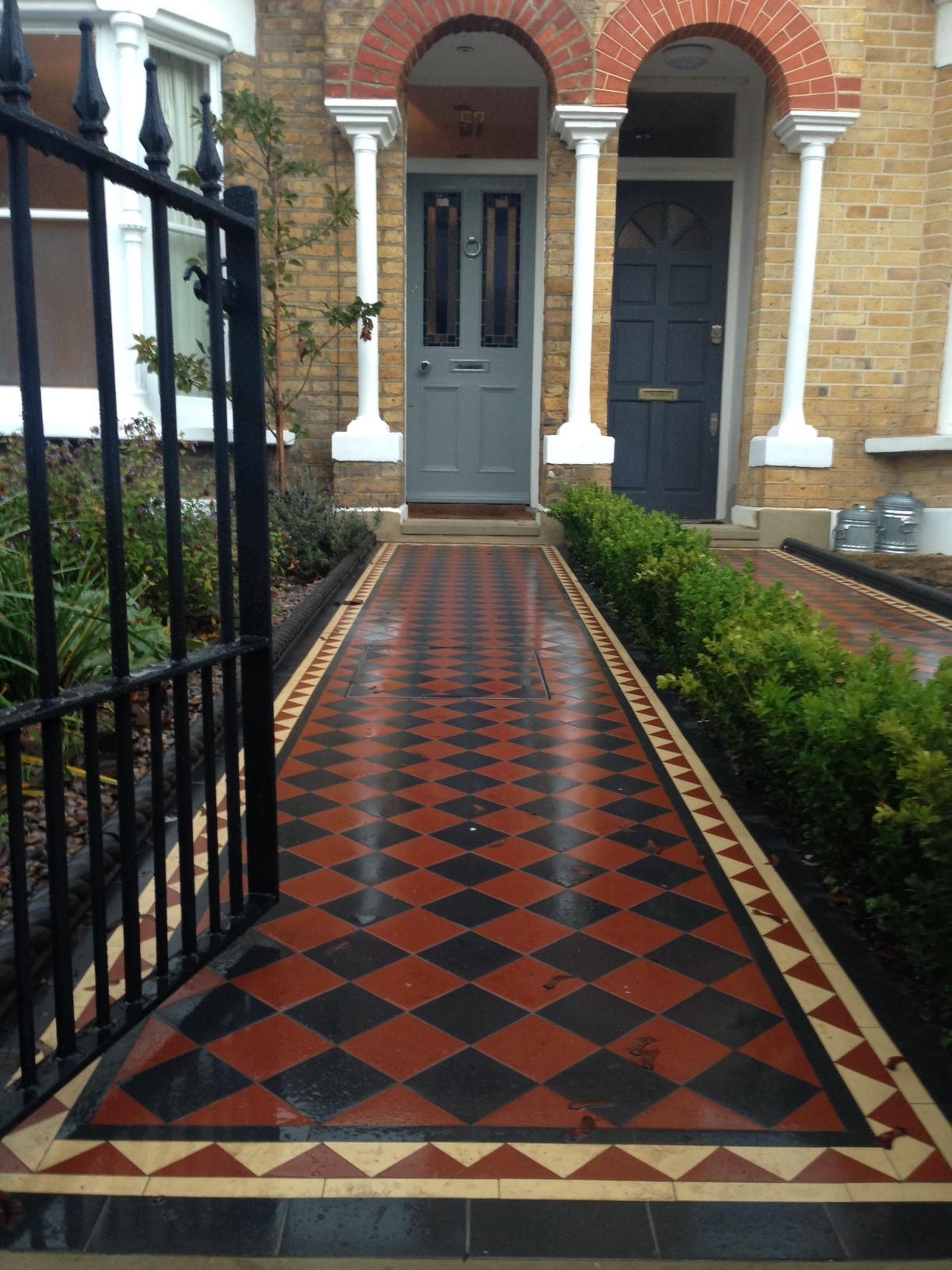 Brixton Herne Hill Victorian Mosaic Tile Path black and red tile with Yorkstone pier cap entrance stone and imperial yellow brick london stock wall (6)