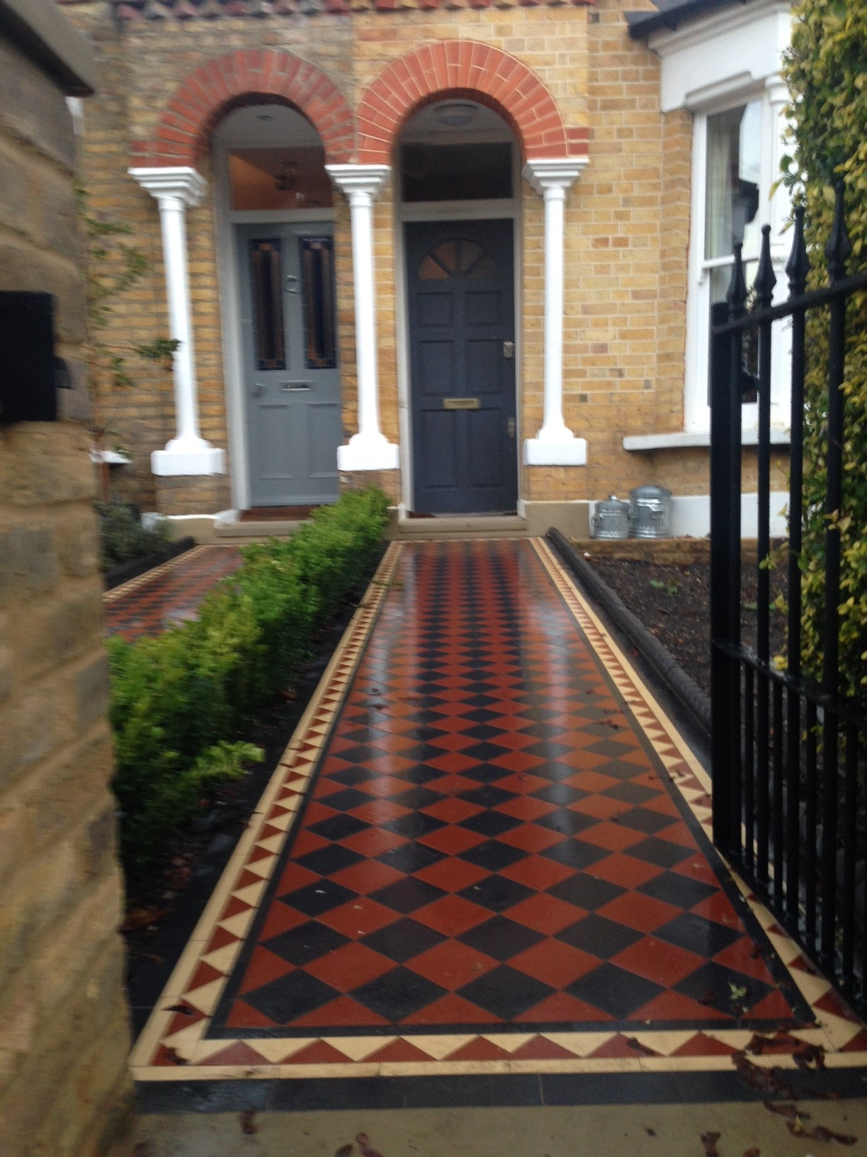 Brixton Herne Hill Victorian Mosaic Tile Path black and red tile with Yorkstone pier cap entrance stone and imperial yellow brick london stock wall (7)