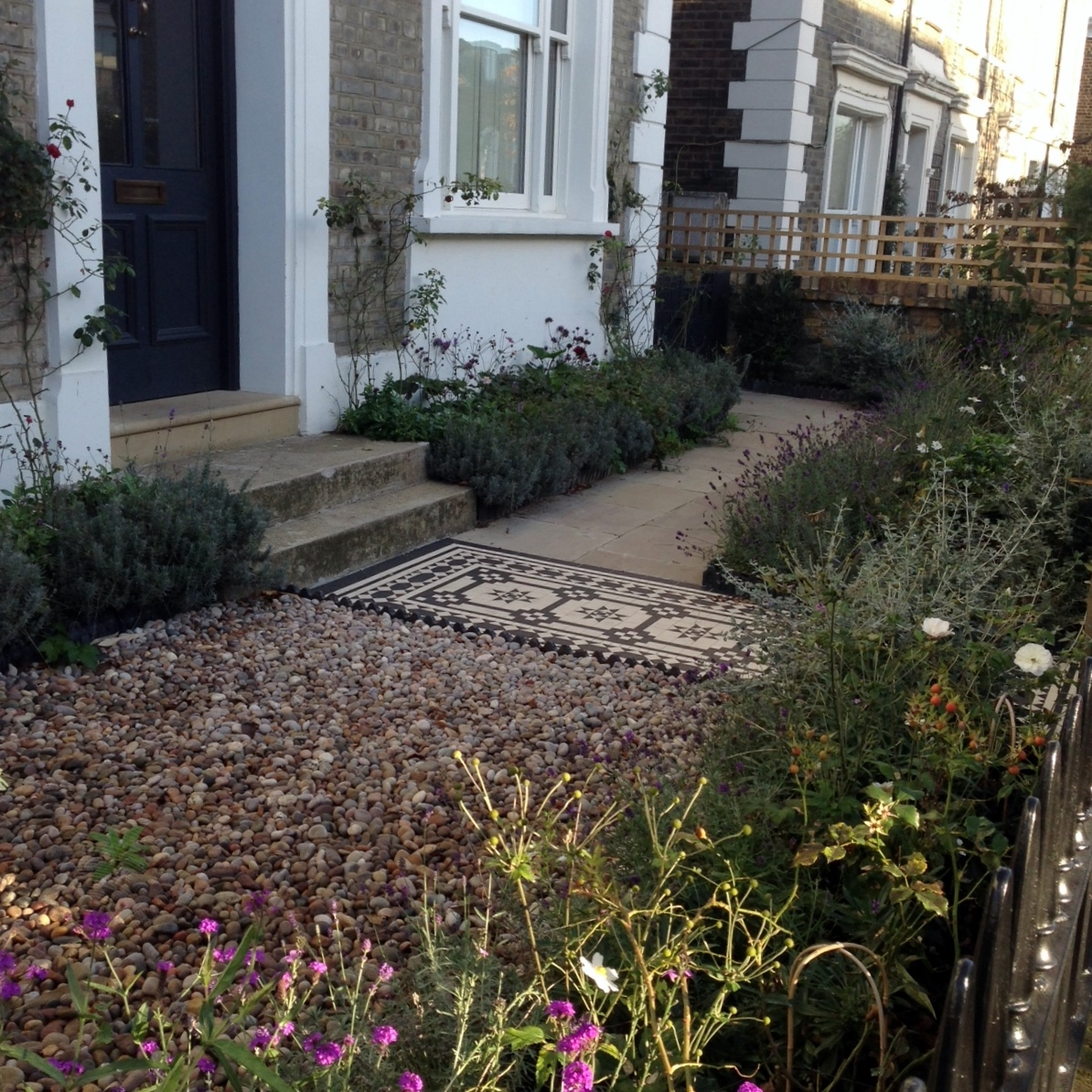Islington Victorian mosaic tile path York stone sandstone paving wrought iron rails and gate London (1)