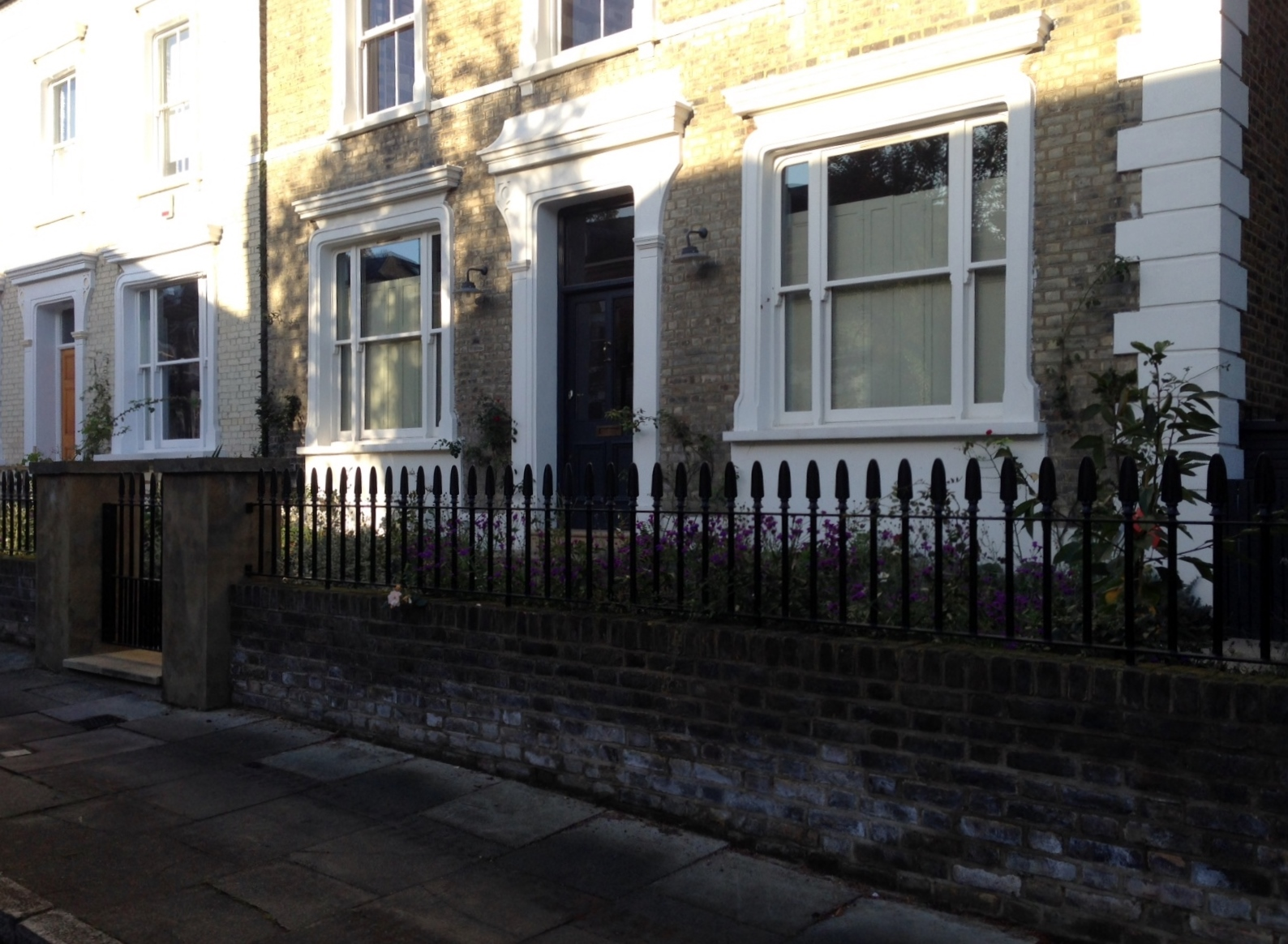 Islington Victorian mosaic tile path York stone sandstone paving wrought iron rails and gate London (10)