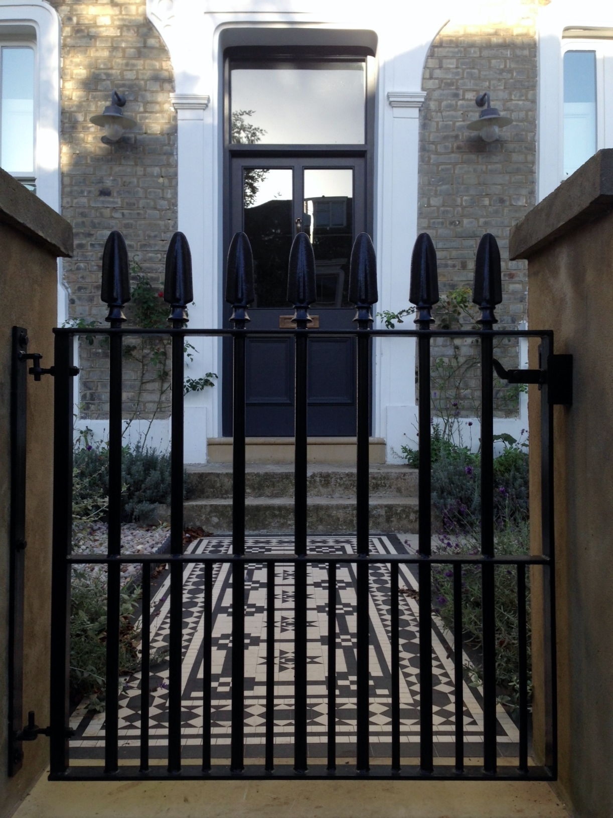 Islington Victorian mosaic tile path York stone sandstone paving wrought iron rails and gate London (11)