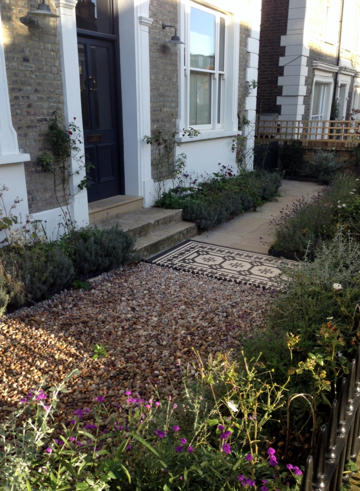 Islington Victorian mosaic tile path York stone sandstone paving wrought iron rails and gate London (12)