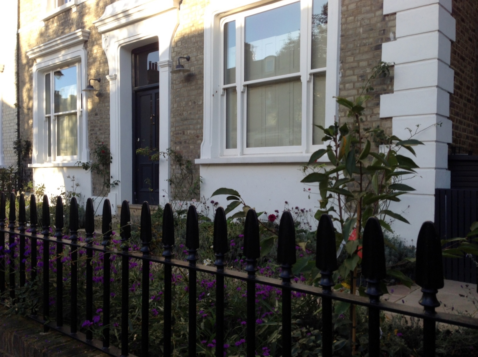 Islington Victorian mosaic tile path York stone sandstone paving wrought iron rails and gate London (13)