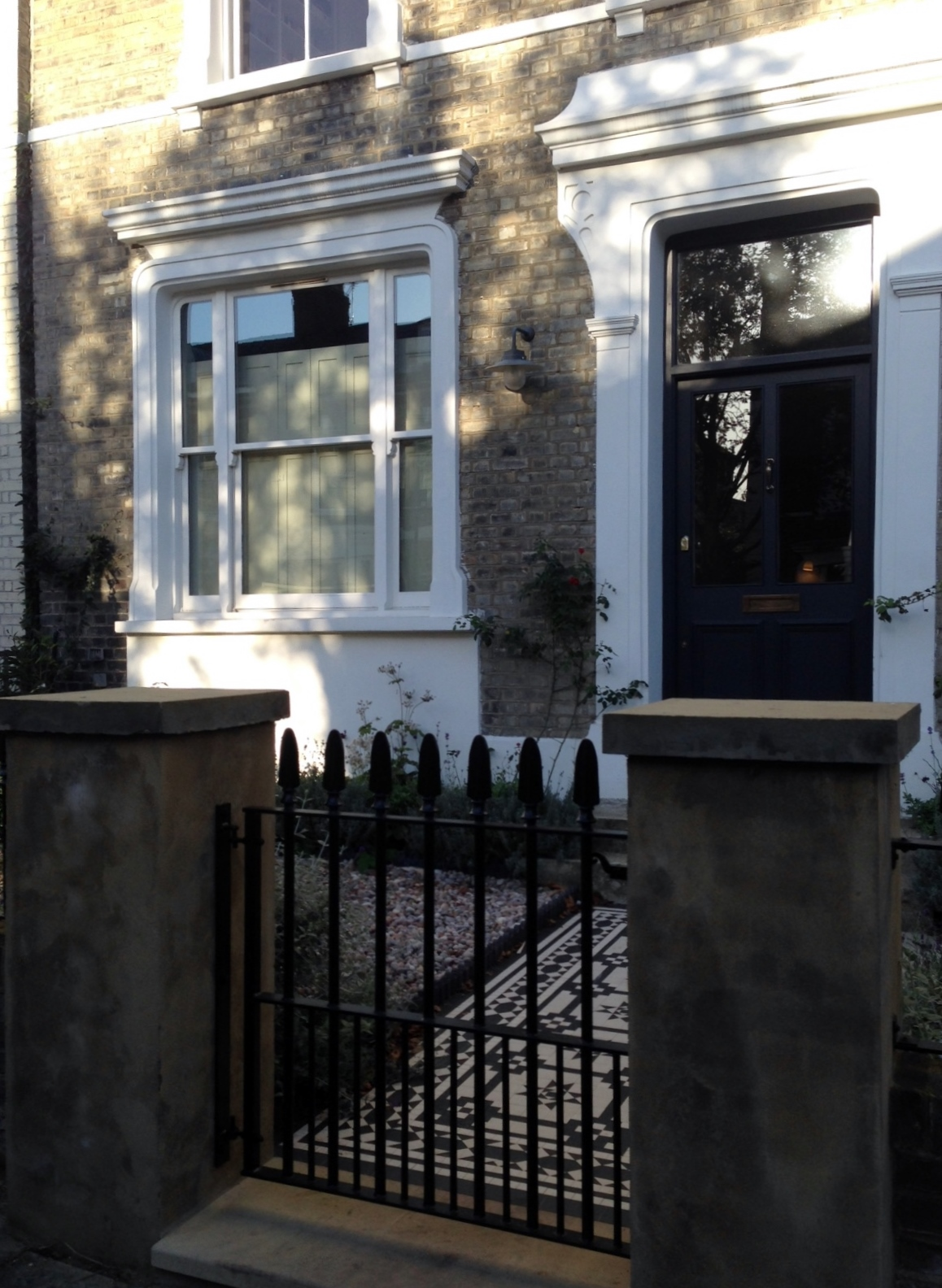 Islington Victorian mosaic tile path York stone sandstone paving wrought iron rails and gate London (14)