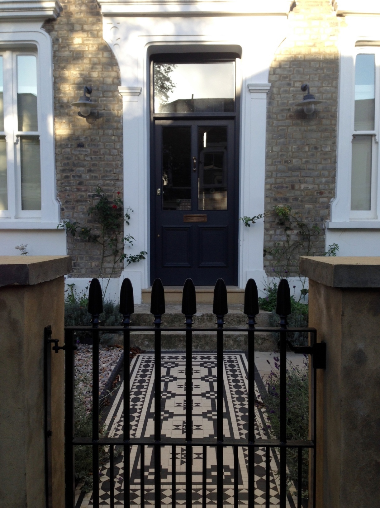 Islington Victorian mosaic tile path York stone sandstone paving wrought iron rails and gate London (15)
