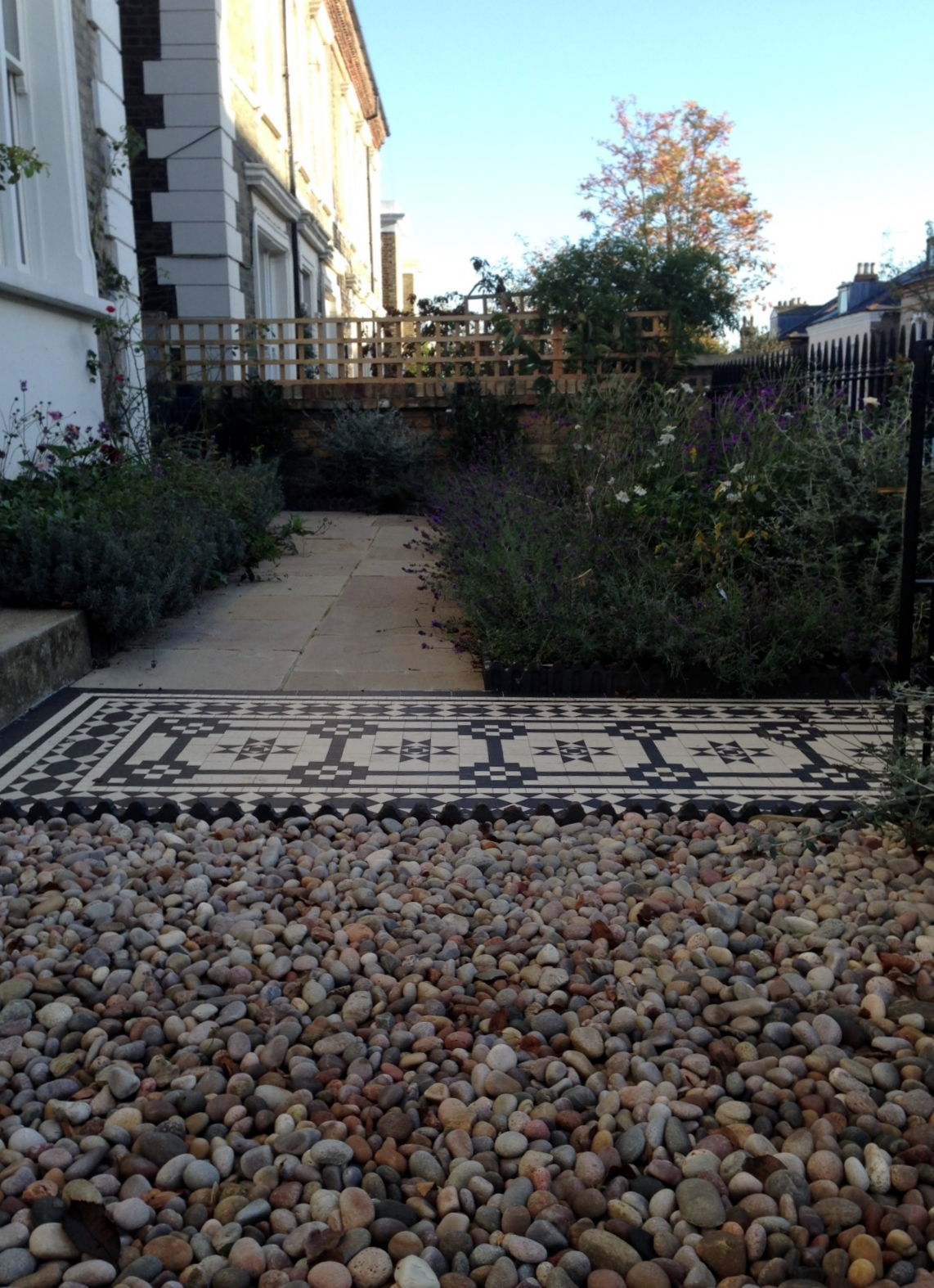 Islington Victorian mosaic tile path York stone sandstone paving wrought iron rails and gate London (16)