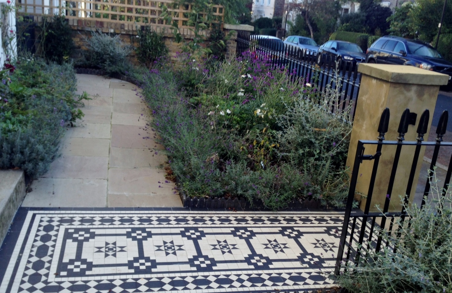 Islington Victorian mosaic tile path York stone sandstone paving wrought iron rails and gate London (17)