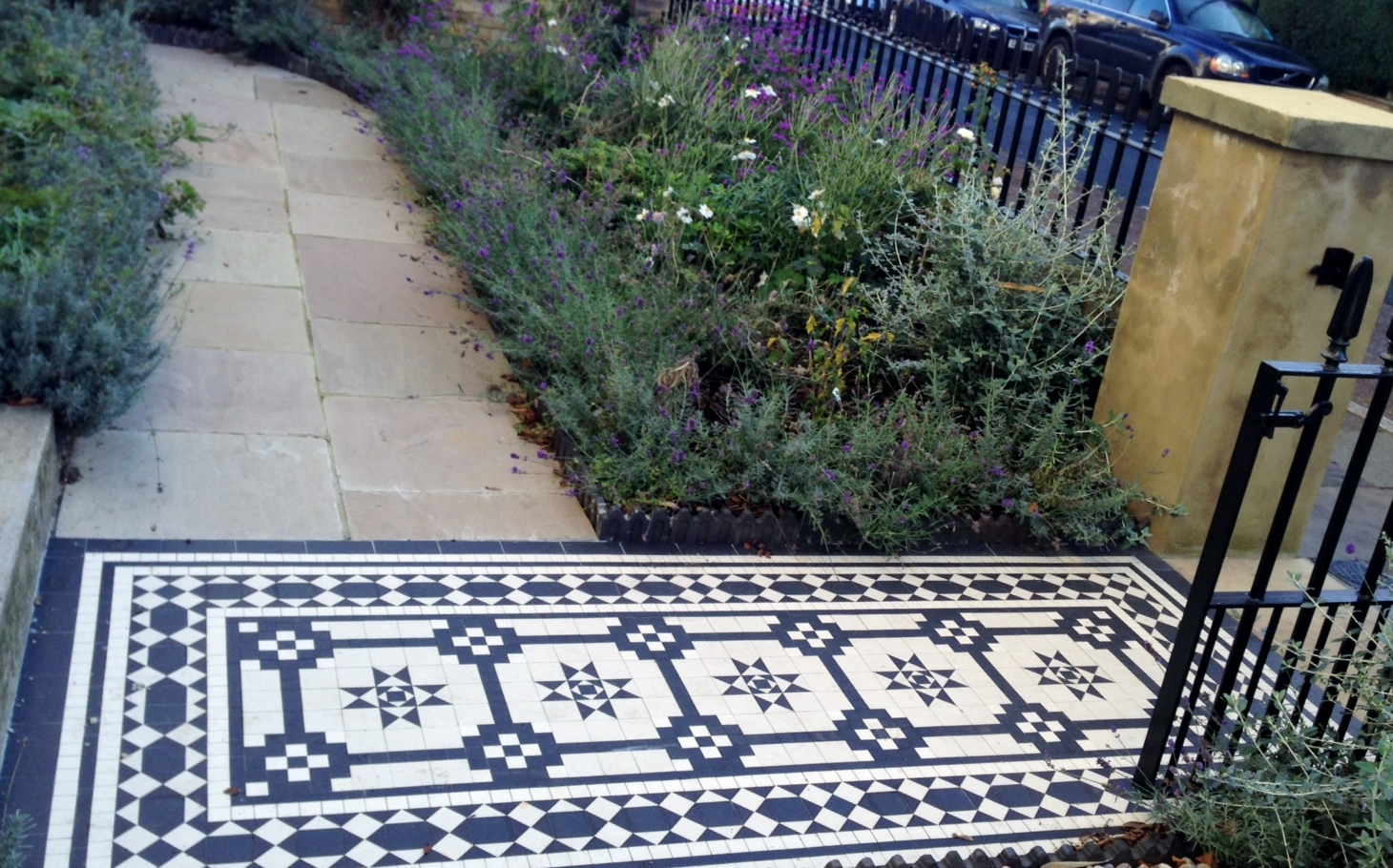 Islington Victorian mosaic tile path York stone sandstone paving wrought iron rails and gate London (18)