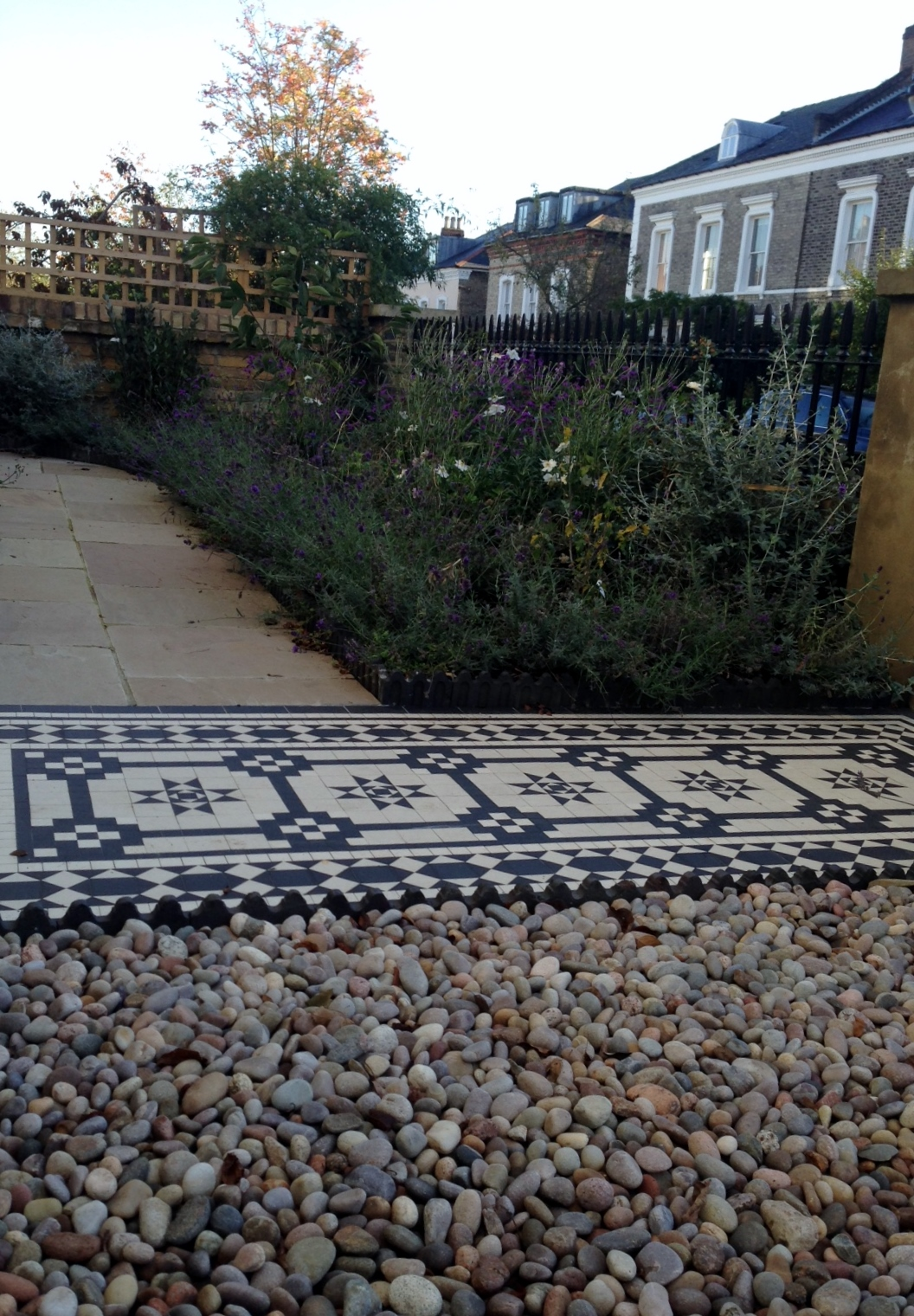 Islington Victorian mosaic tile path York stone sandstone paving wrought iron rails and gate London (19)