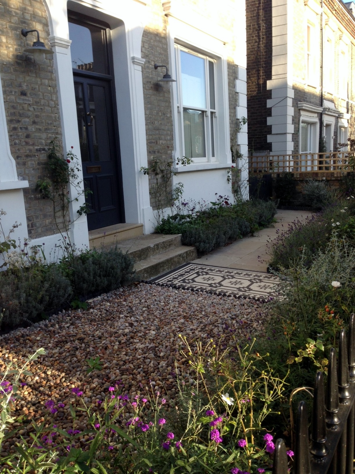 Islington Victorian mosaic tile path York stone sandstone paving wrought iron rails and gate London (2)