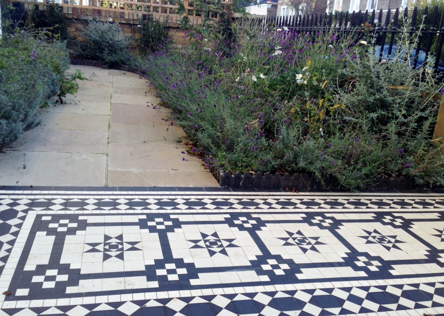 Islington Victorian mosaic tile path York stone sandstone paving wrought iron rails and gate London (20)
