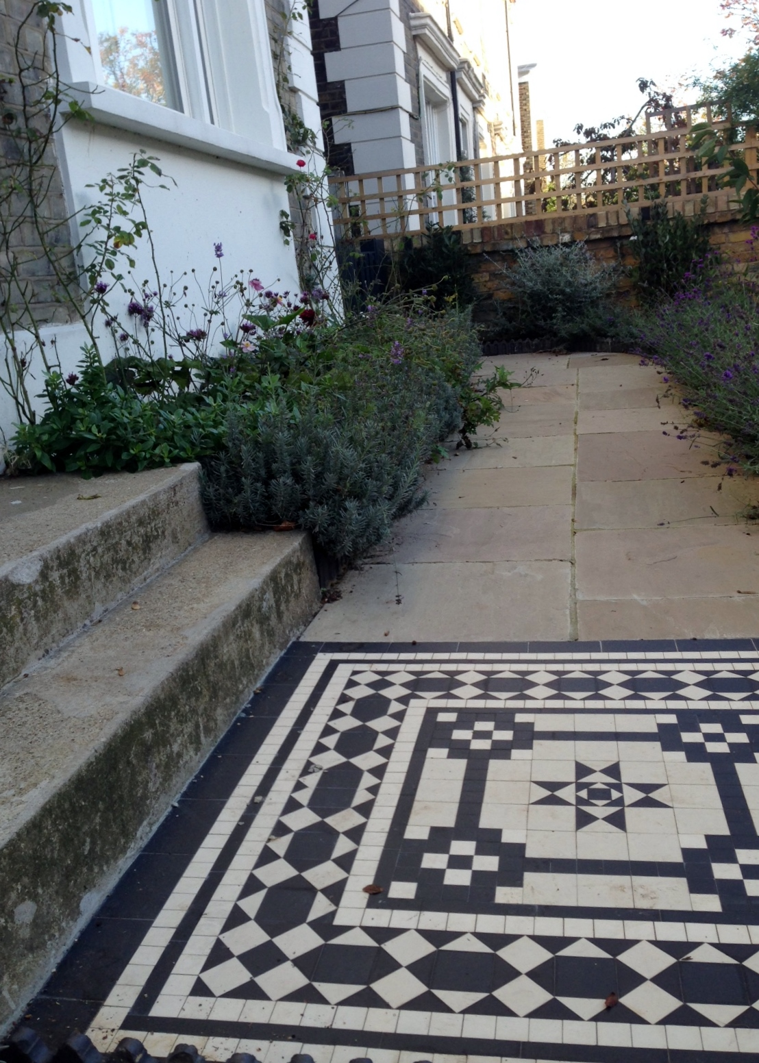 Islington Victorian mosaic tile path York stone sandstone paving wrought iron rails and gate London (21)
