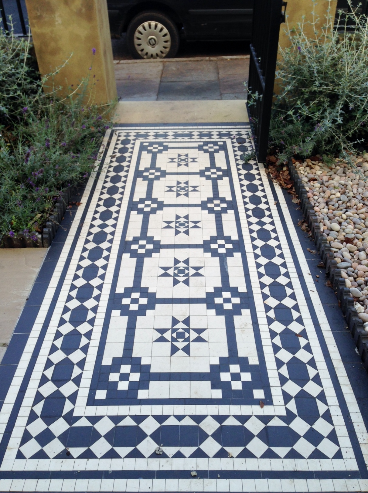 Islington Victorian mosaic tile path York stone sandstone paving wrought iron rails and gate London (22)