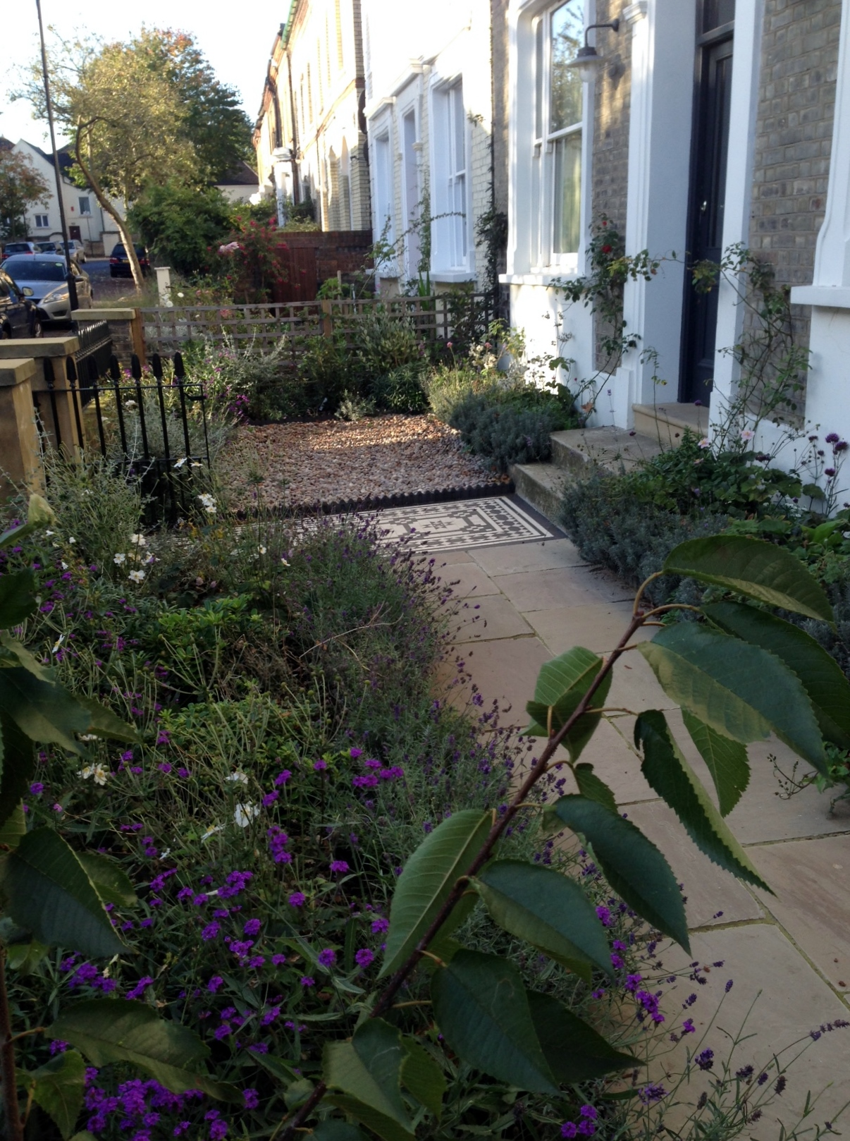 Islington Victorian mosaic tile path York stone sandstone paving wrought iron rails and gate London (24)
