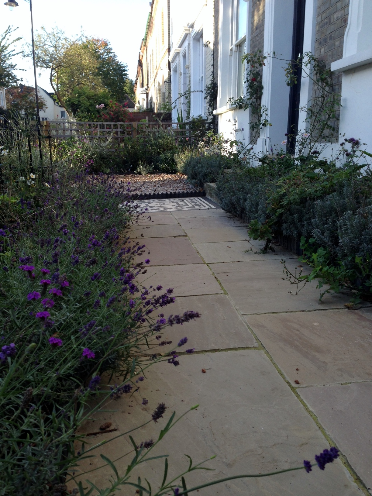 Islington Victorian mosaic tile path York stone sandstone paving wrought iron rails and gate London (25)