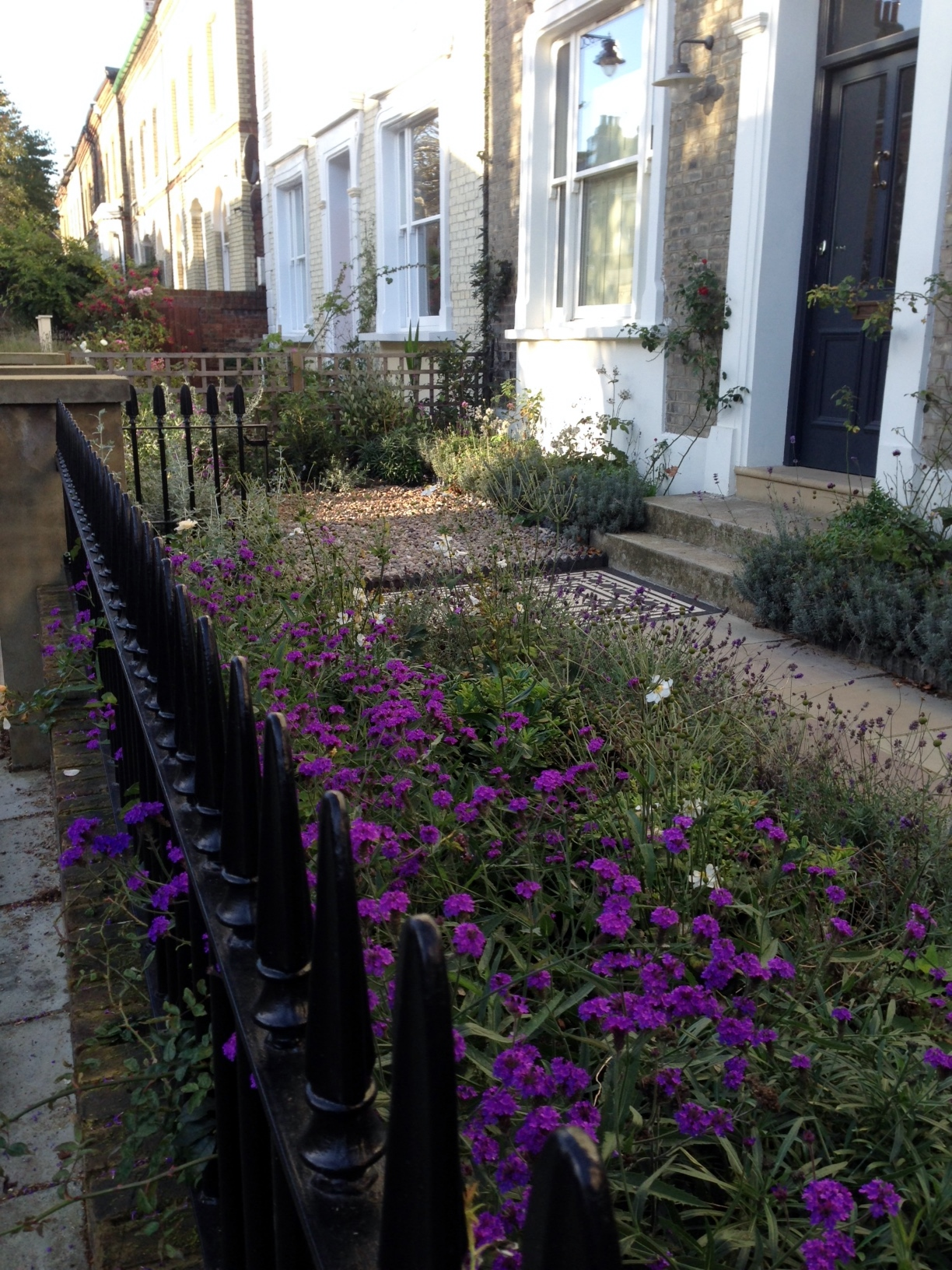 Islington Victorian mosaic tile path York stone sandstone paving wrought iron rails and gate London (29)