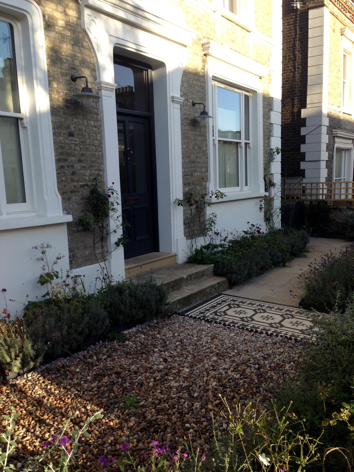 Islington Victorian mosaic tile path York stone sandstone paving wrought iron rails and gate London (3)