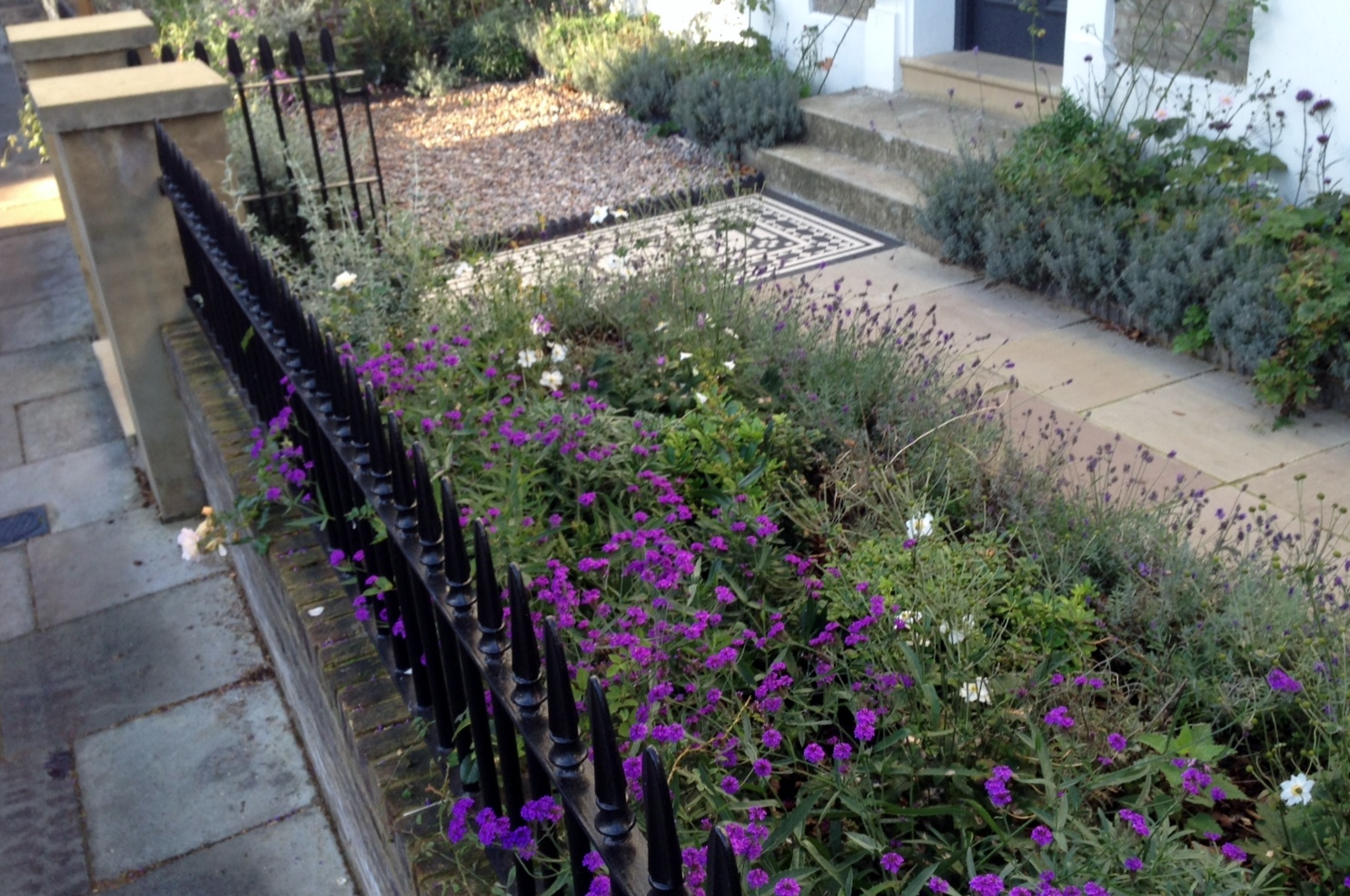 Islington Victorian mosaic tile path York stone sandstone paving wrought iron rails and gate London (30)