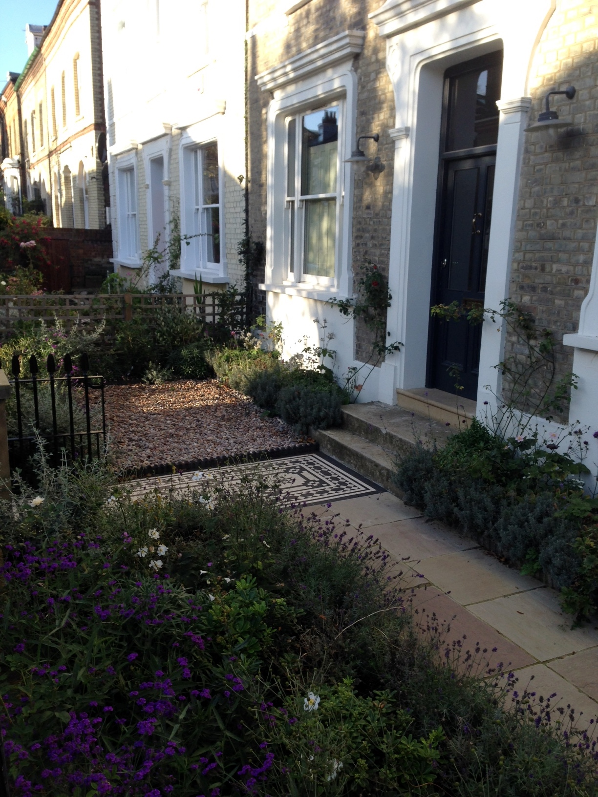 Islington Victorian mosaic tile path York stone sandstone paving wrought iron rails and gate London (31)