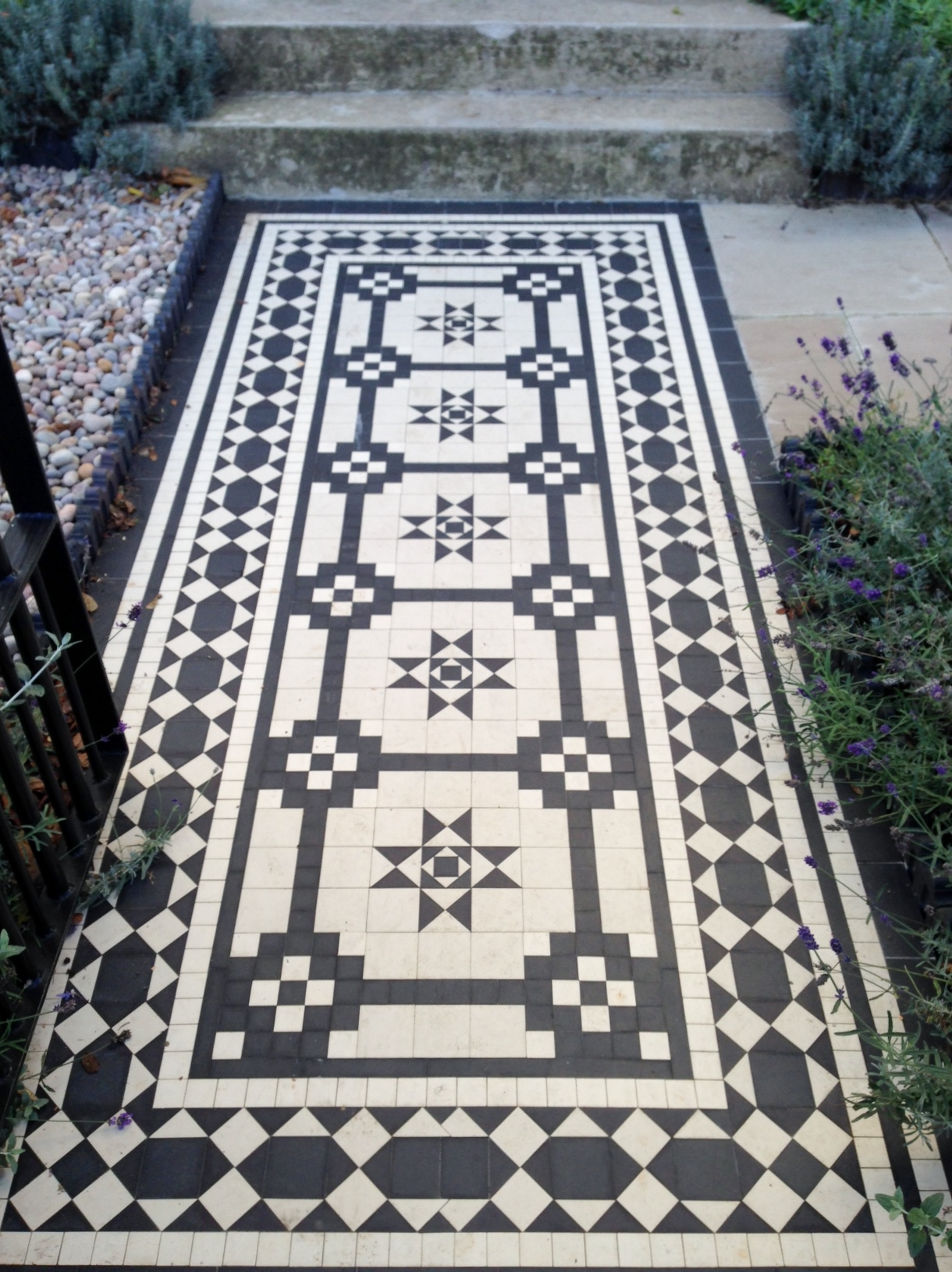 Islington Victorian mosaic tile path York stone sandstone paving wrought iron rails and gate London (32)