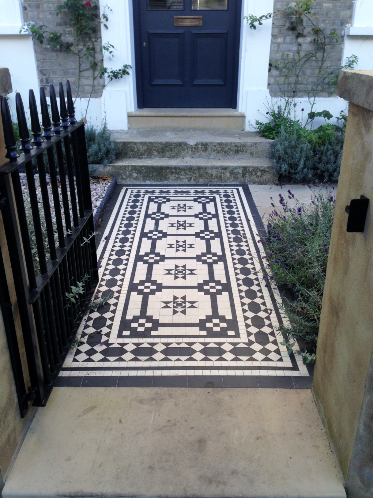 Islington Victorian mosaic tile path York stone sandstone paving wrought iron rails and gate London (33)