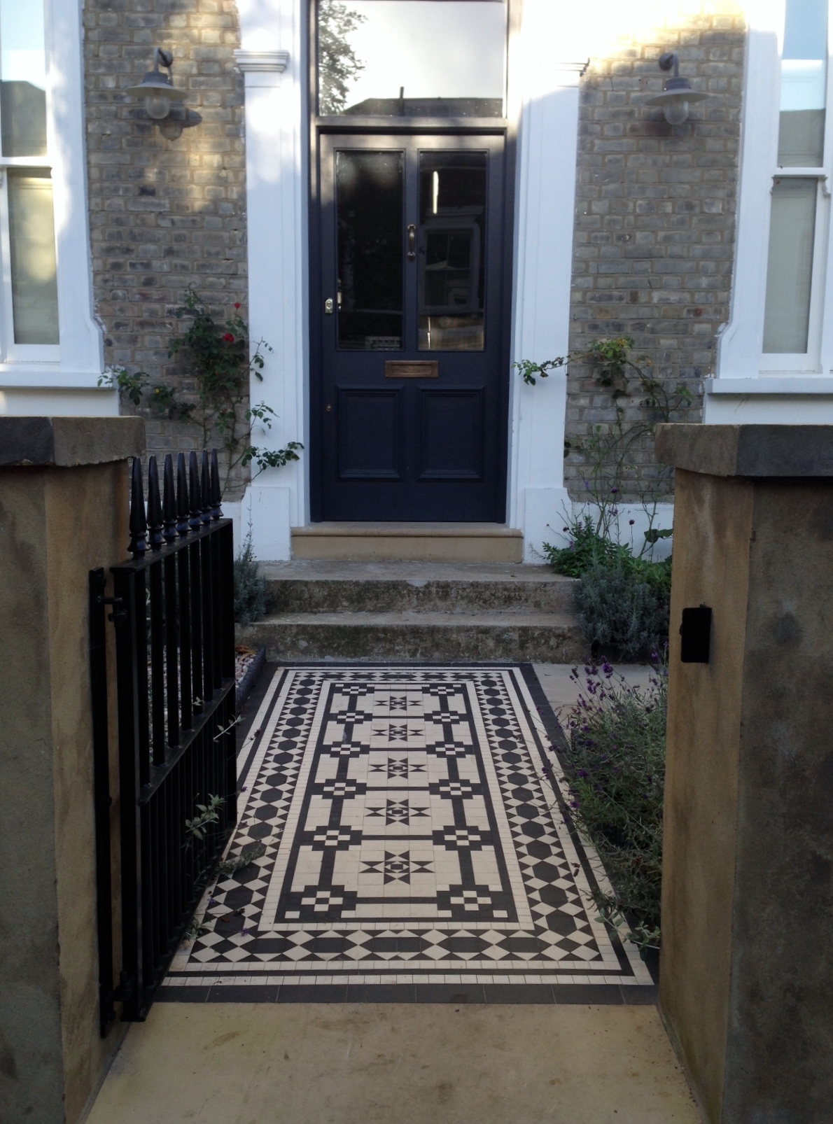 Islington Victorian mosaic tile path York stone sandstone paving wrought iron rails and gate London (34)