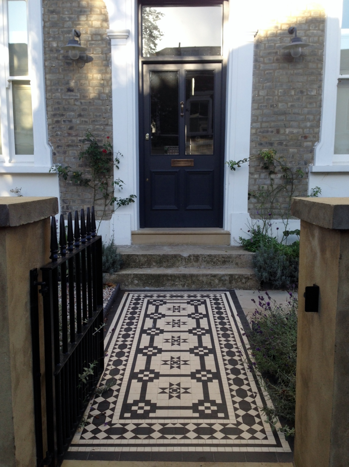 Islington Victorian mosaic tile path York stone sandstone paving wrought iron rails and gate London (35)