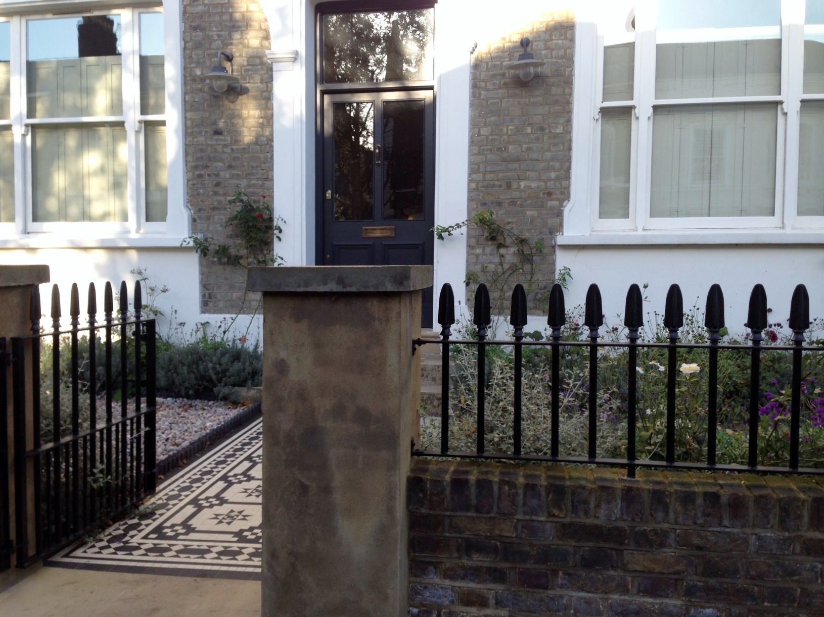 Islington Victorian mosaic tile path York stone sandstone paving wrought iron rails and gate London (36)
