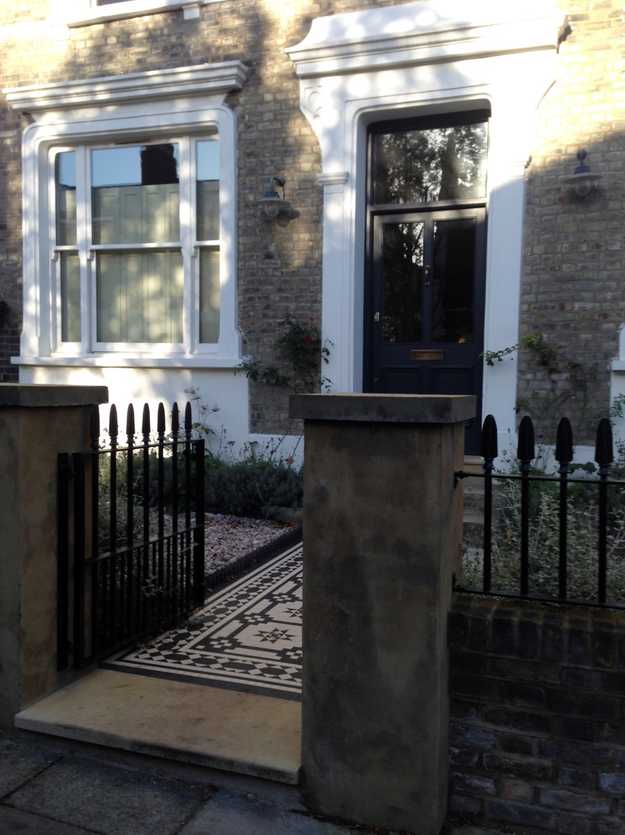 Islington Victorian mosaic tile path York stone sandstone paving wrought iron rails and gate London (37)