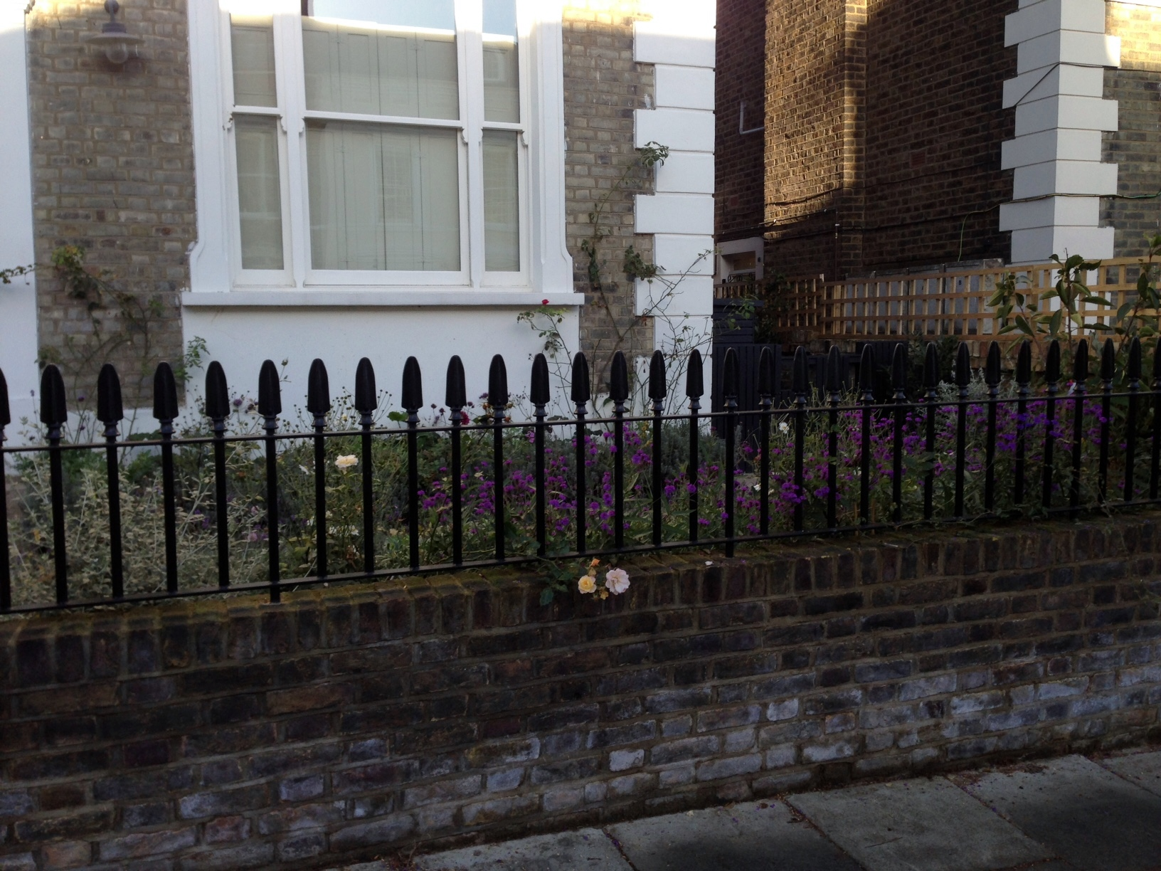 Islington Victorian mosaic tile path York stone sandstone paving wrought iron rails and gate London (38)