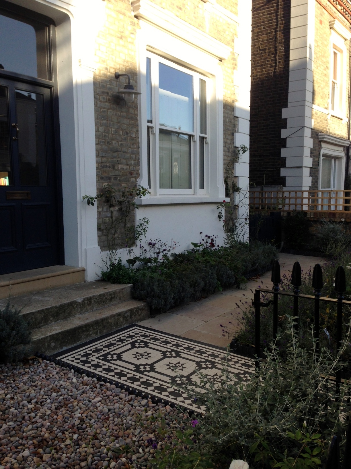 Islington Victorian mosaic tile path York stone sandstone paving wrought iron rails and gate London (39)