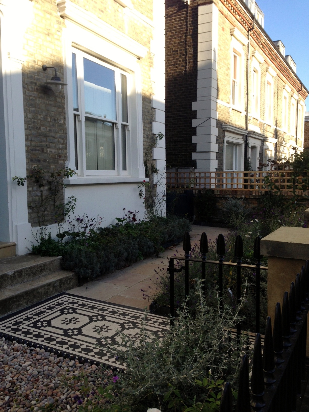 Islington Victorian mosaic tile path York stone sandstone paving wrought iron rails and gate London (40)