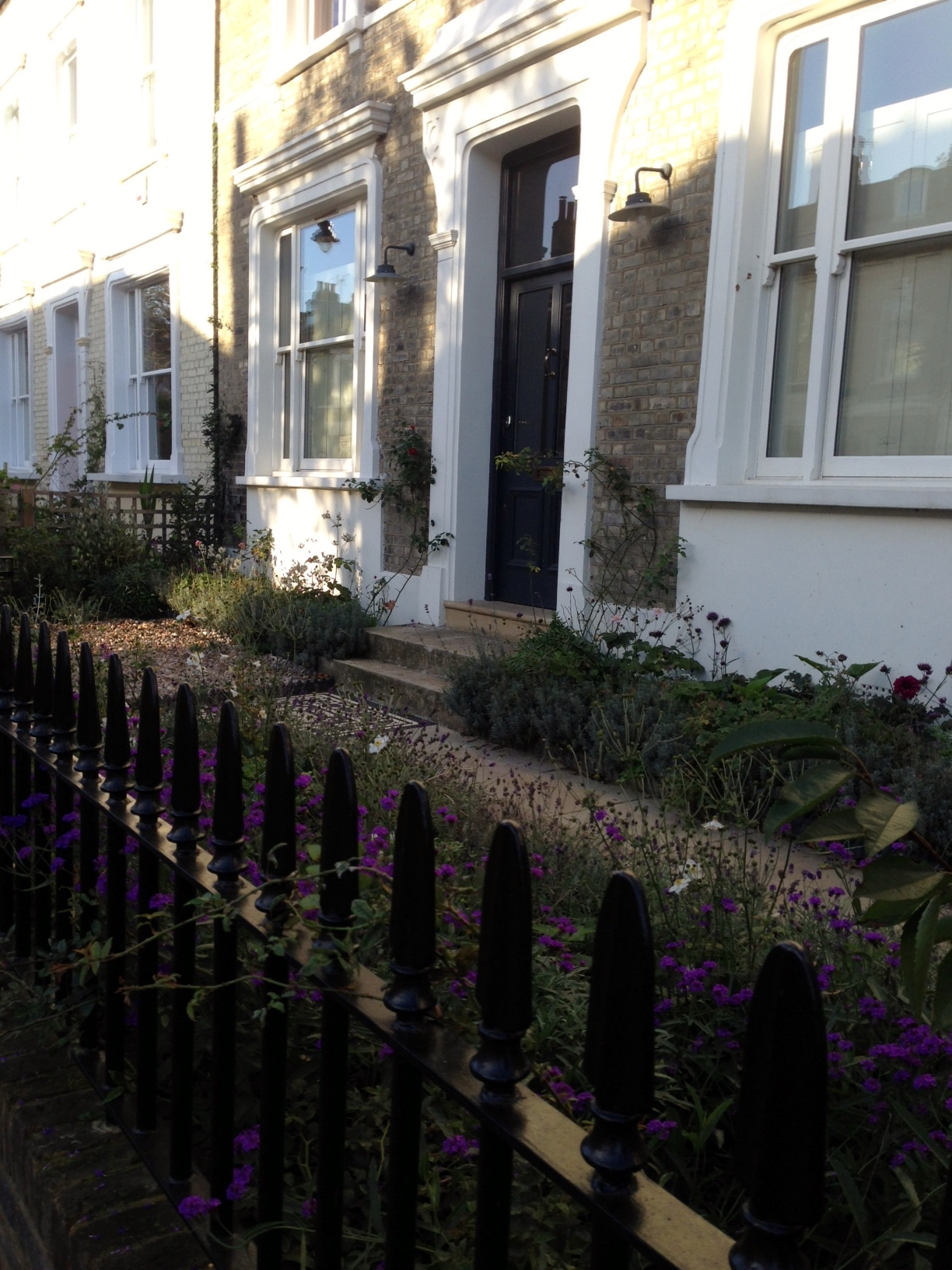Islington Victorian mosaic tile path York stone sandstone paving wrought iron rails and gate London (41)