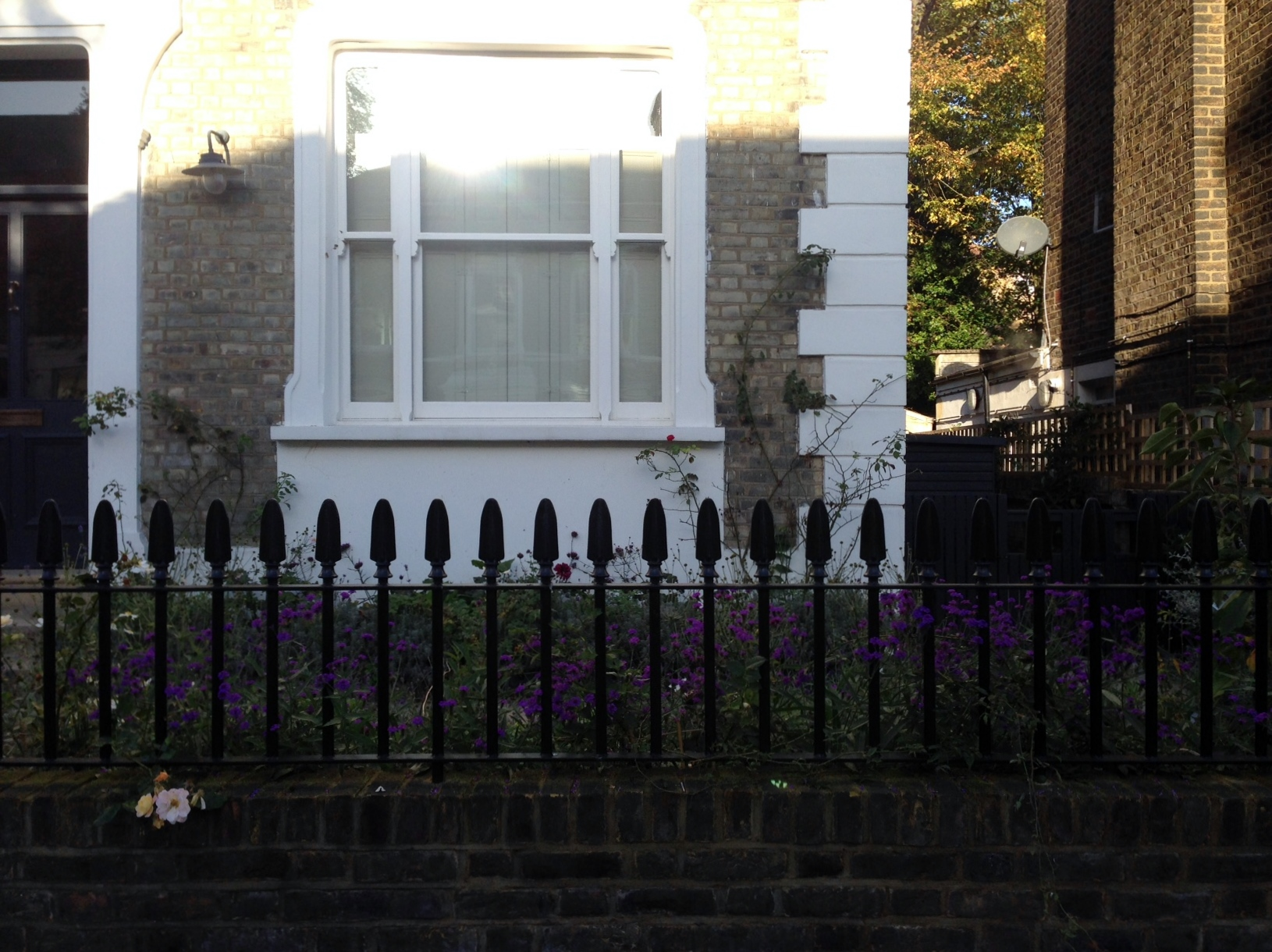 Islington Victorian mosaic tile path York stone sandstone paving wrought iron rails and gate London (44)