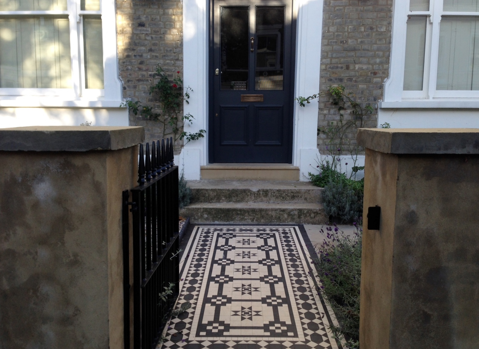 Islington Victorian mosaic tile path York stone sandstone paving wrought iron rails and gate London (45)
