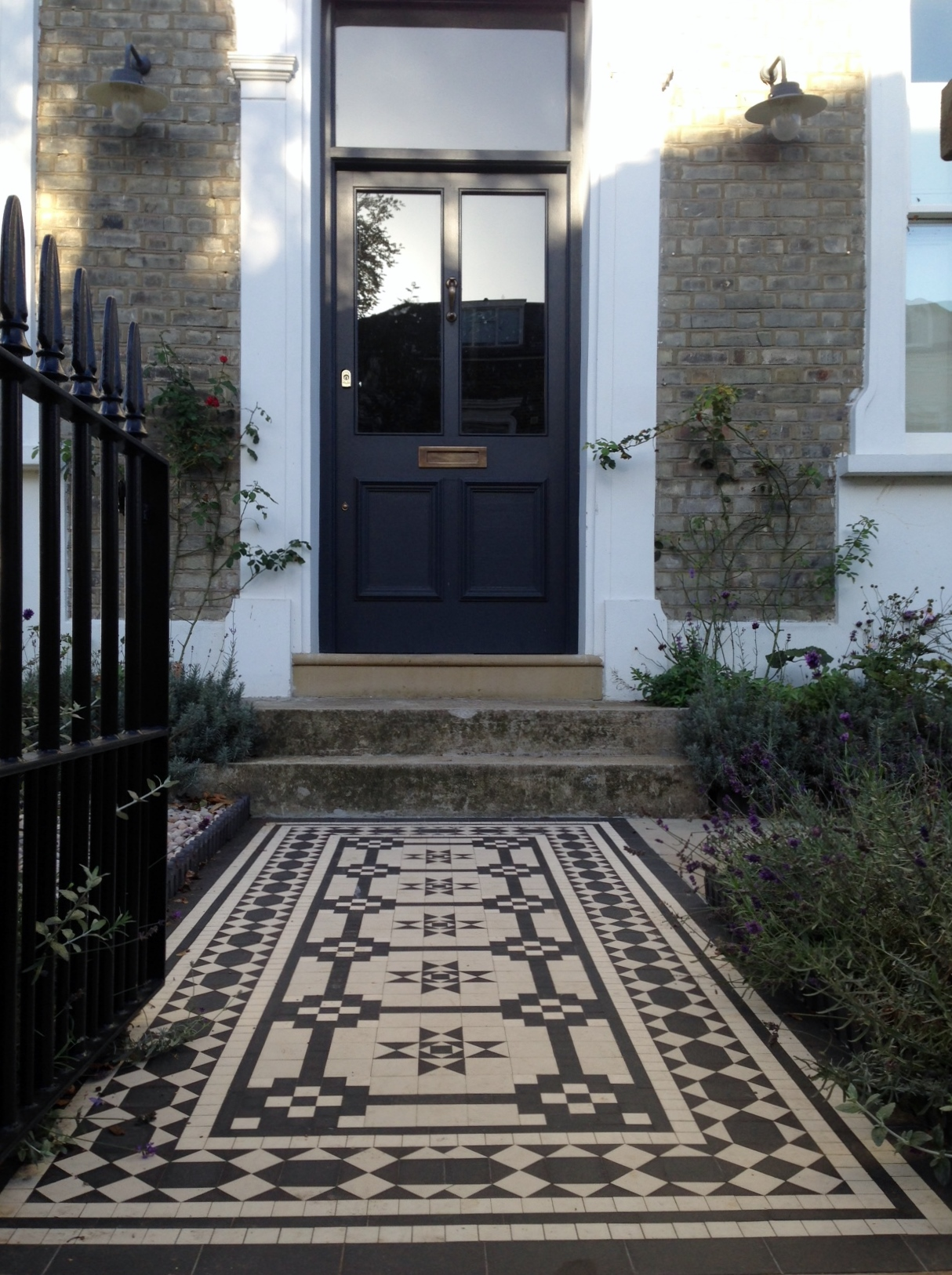 Islington Victorian mosaic tile path York stone sandstone paving wrought iron rails and gate London (46)