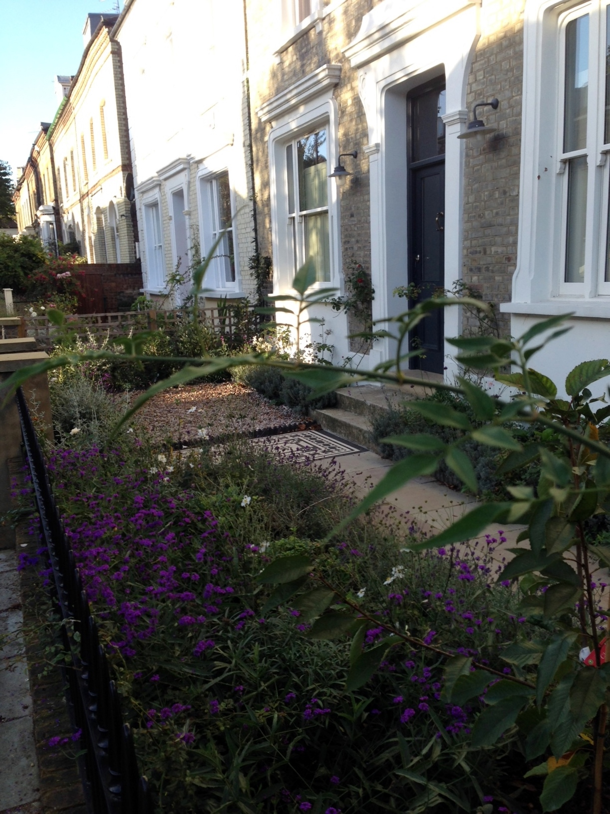 Islington Victorian mosaic tile path York stone sandstone paving wrought iron rails and gate London (5)