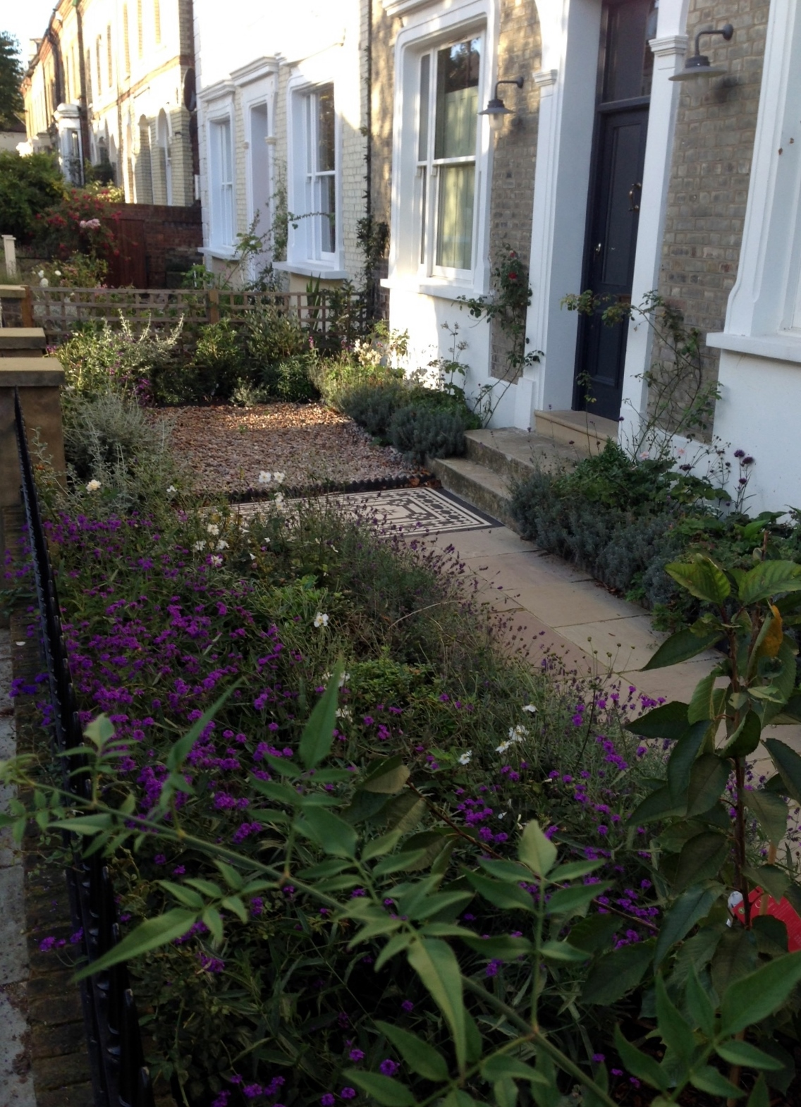 Islington Victorian mosaic tile path York stone sandstone paving wrought iron rails and gate London (6)