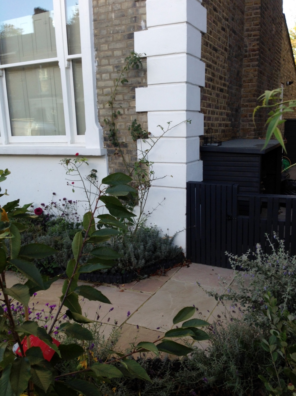 Islington Victorian mosaic tile path York stone sandstone paving wrought iron rails and gate London (8)
