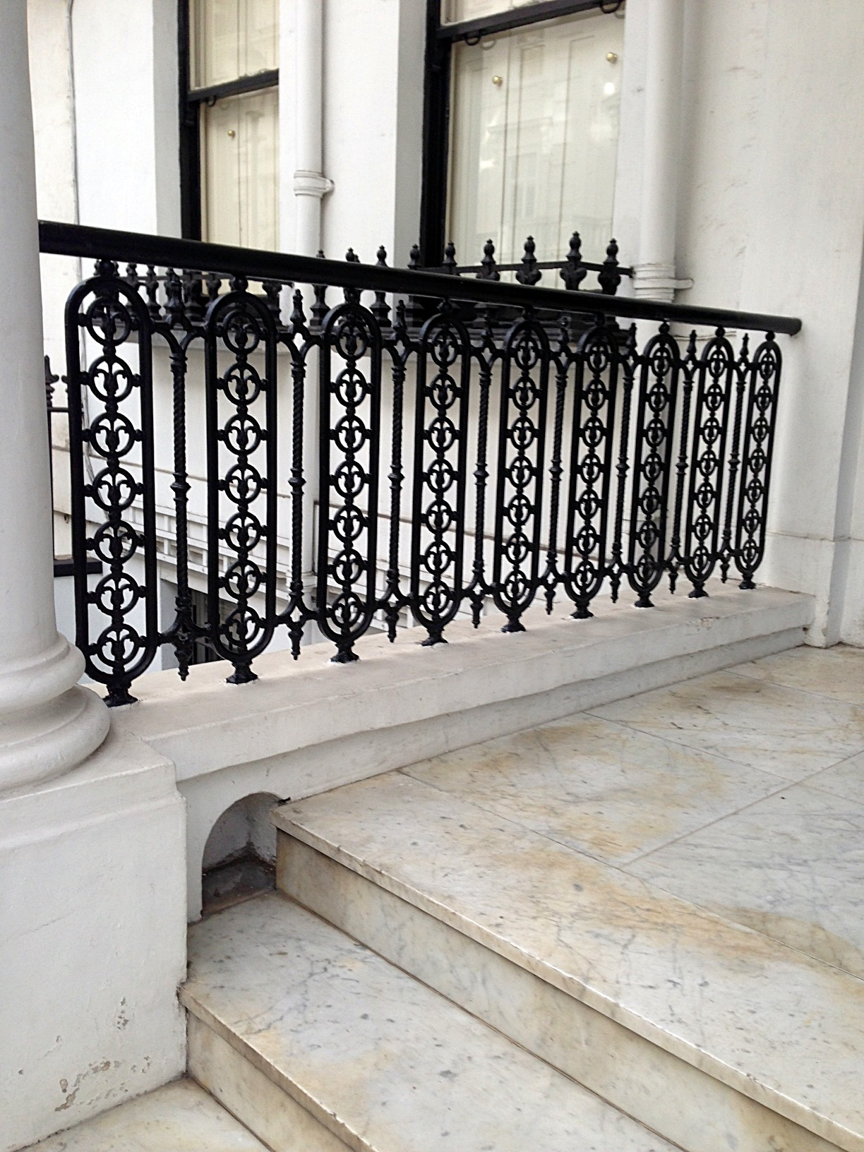 Kensington victorian wrought iron heritage rails side panels and foot scrape London (4)