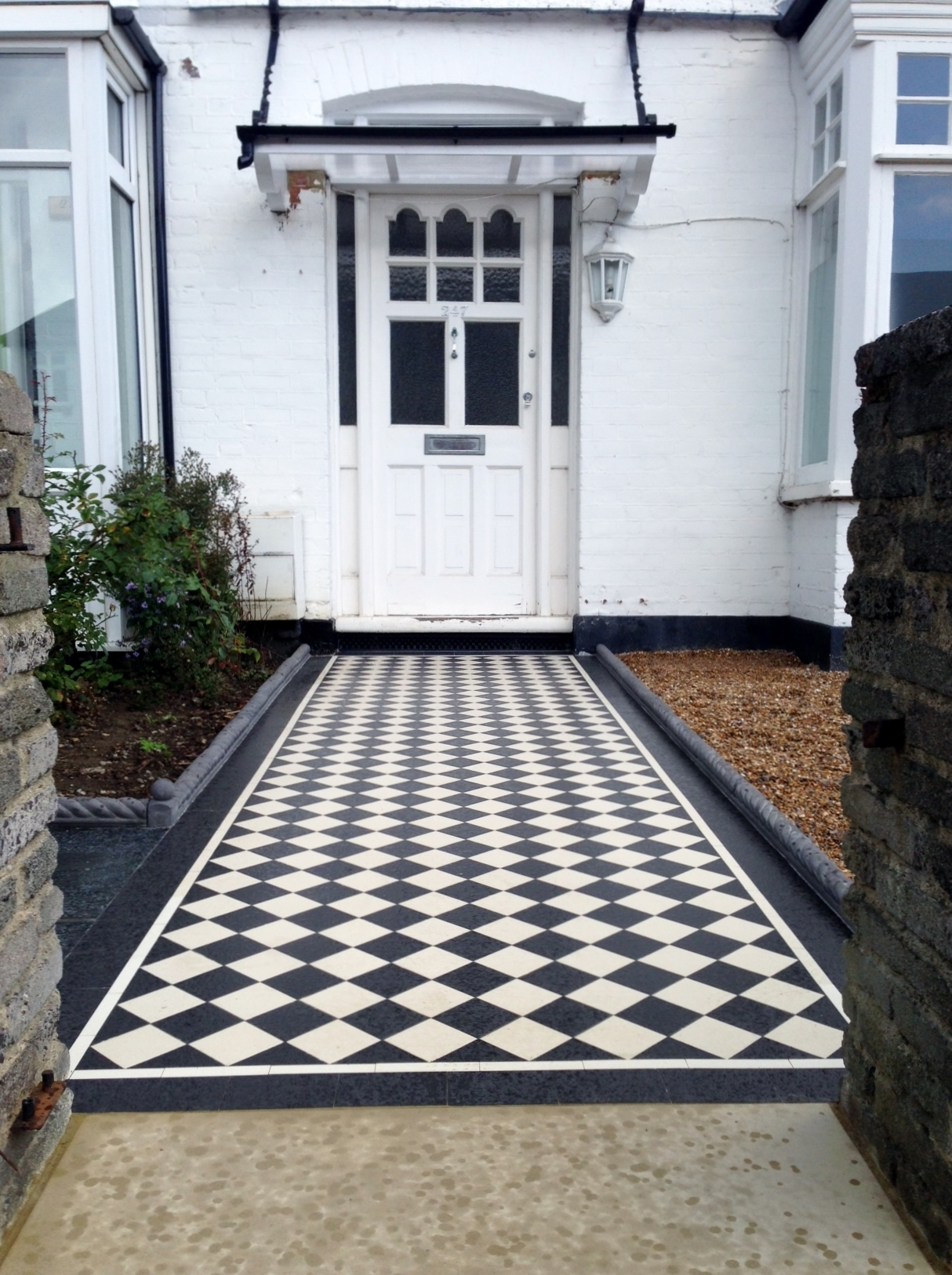 Victorian black and white mosaic tile garden path rope edge tile brockley lea catford london (7)