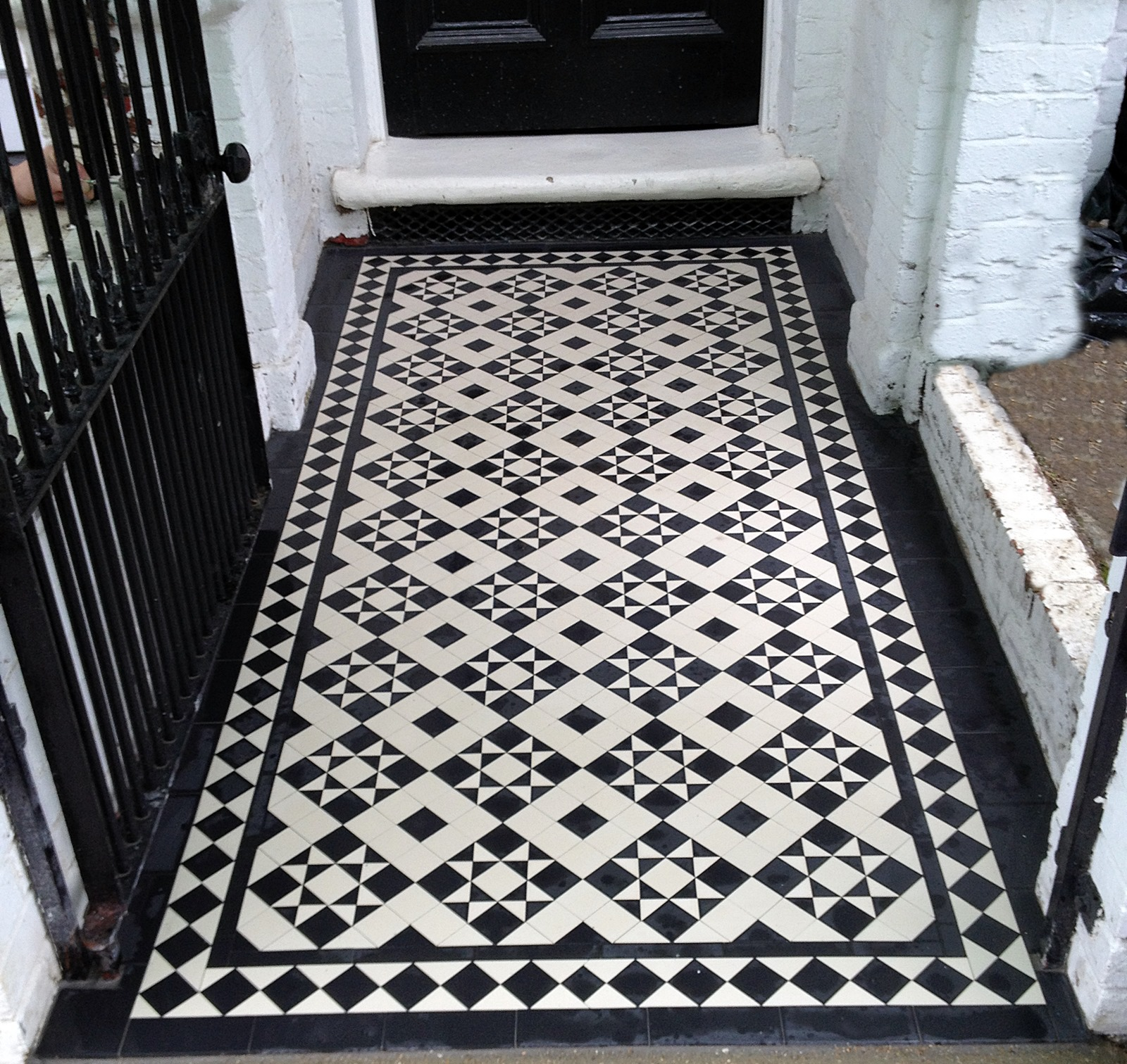 black and white victorian mosaic tile path chiswick ealing london