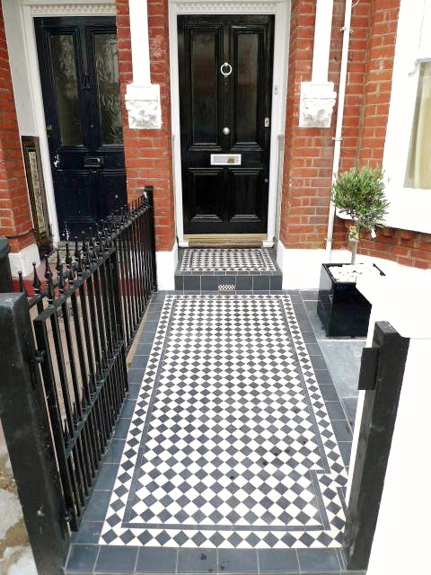black and white victorian mosaic tile path garden wall metal agte and rail charcoal black paving clapham london (1)