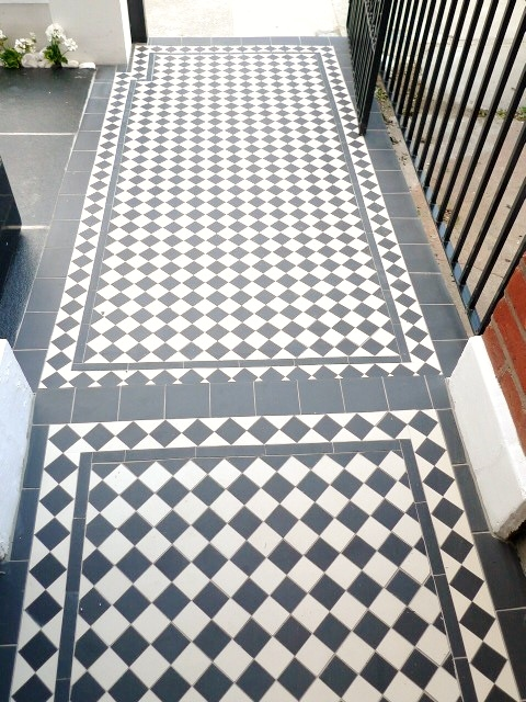 black and white victorian mosaic tile path garden wall metal agte and rail charcoal black paving clapham london (13)