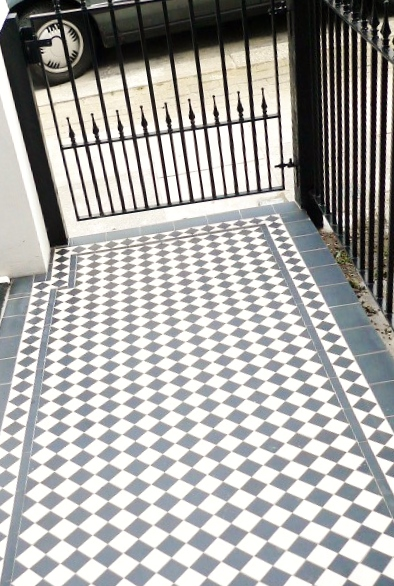 black and white victorian mosaic tile path garden wall metal agte and rail charcoal black paving clapham london (14)