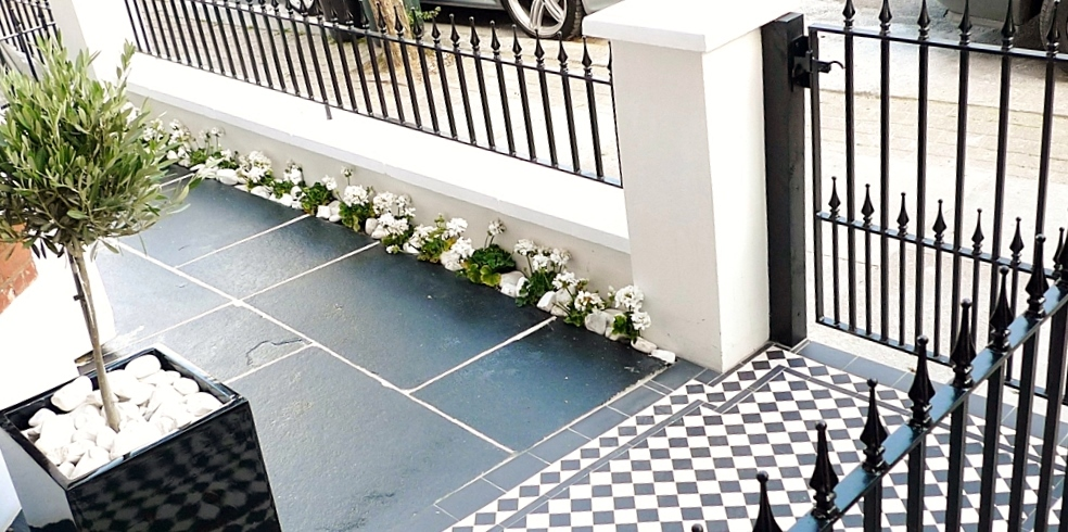 black and white victorian mosaic tile path garden wall metal agte and rail charcoal black paving clapham london (6)