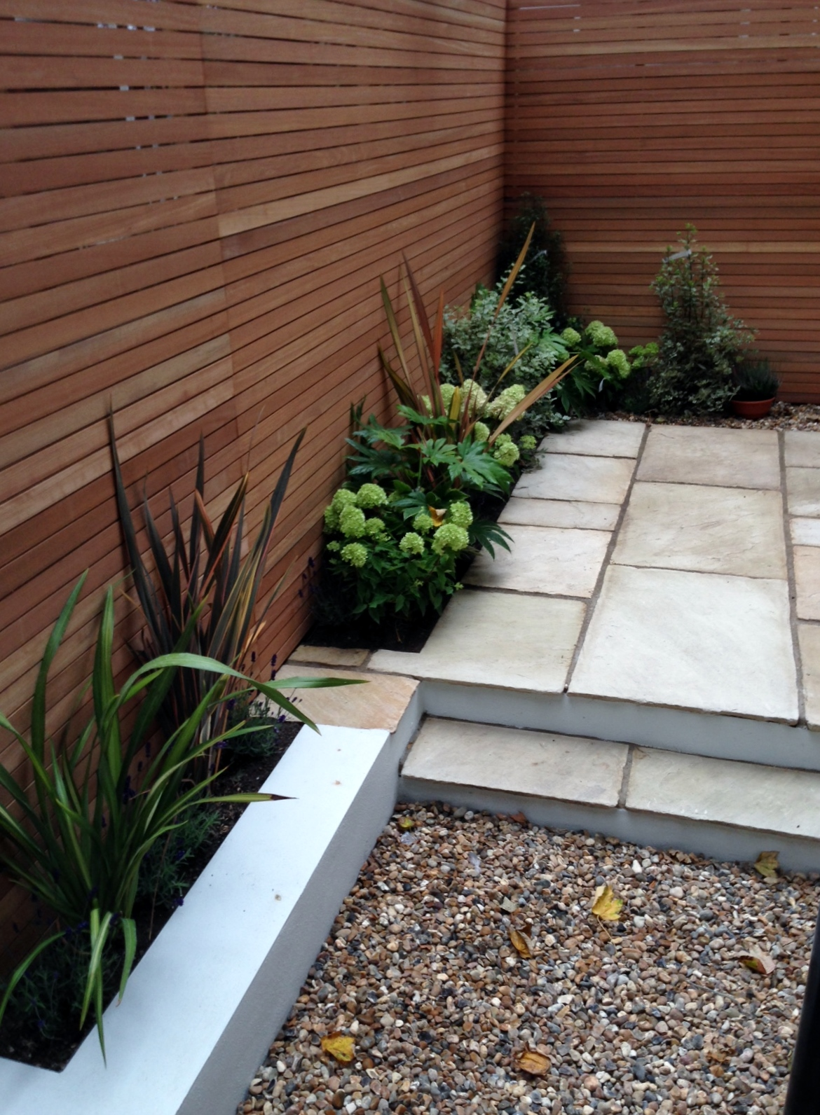 clapham garden design sandstone paving hardwood privacy screen shingle trellis fence modern low maintenance ideas (9)