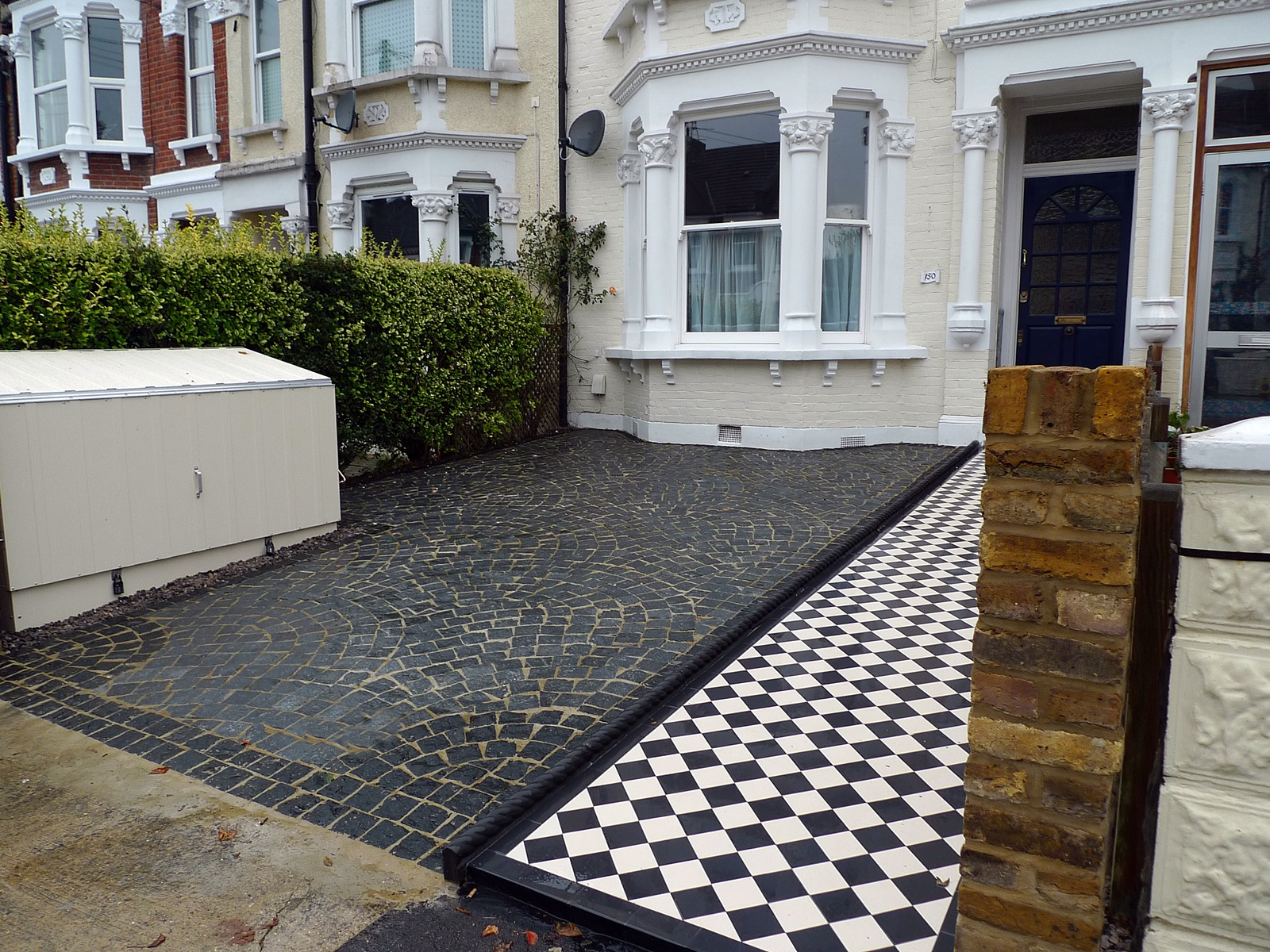 front garden driveway black and white victorian mosaic tile path london