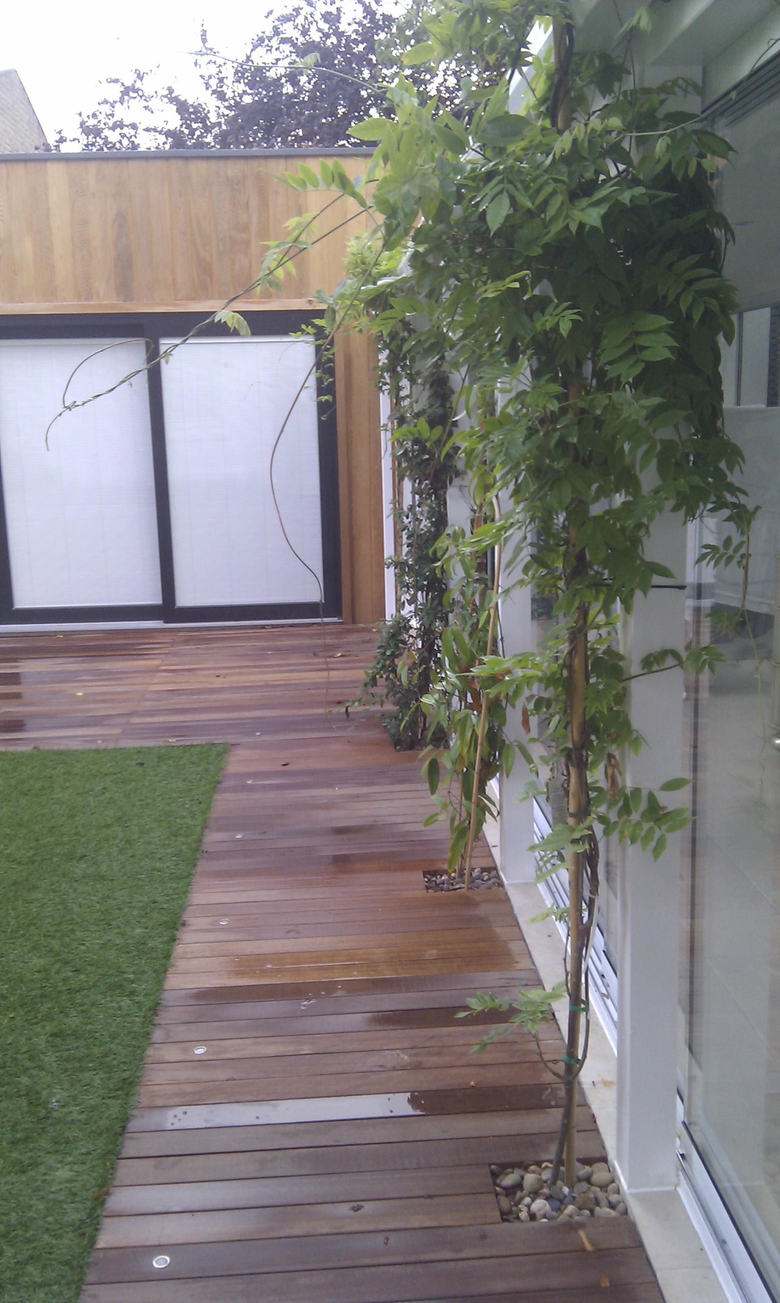 modern garden design london slatted grey privacy screen sandstone paving easy grass balau hardwood decking (37)